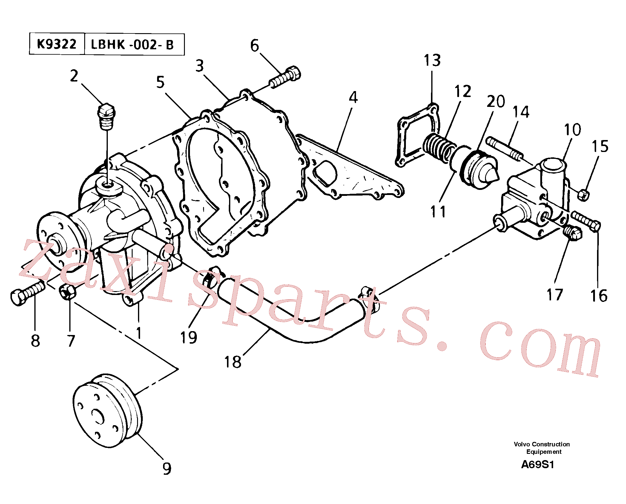PJ5130068 for Volvo Water pump / thermostat(A69S1 assembly)