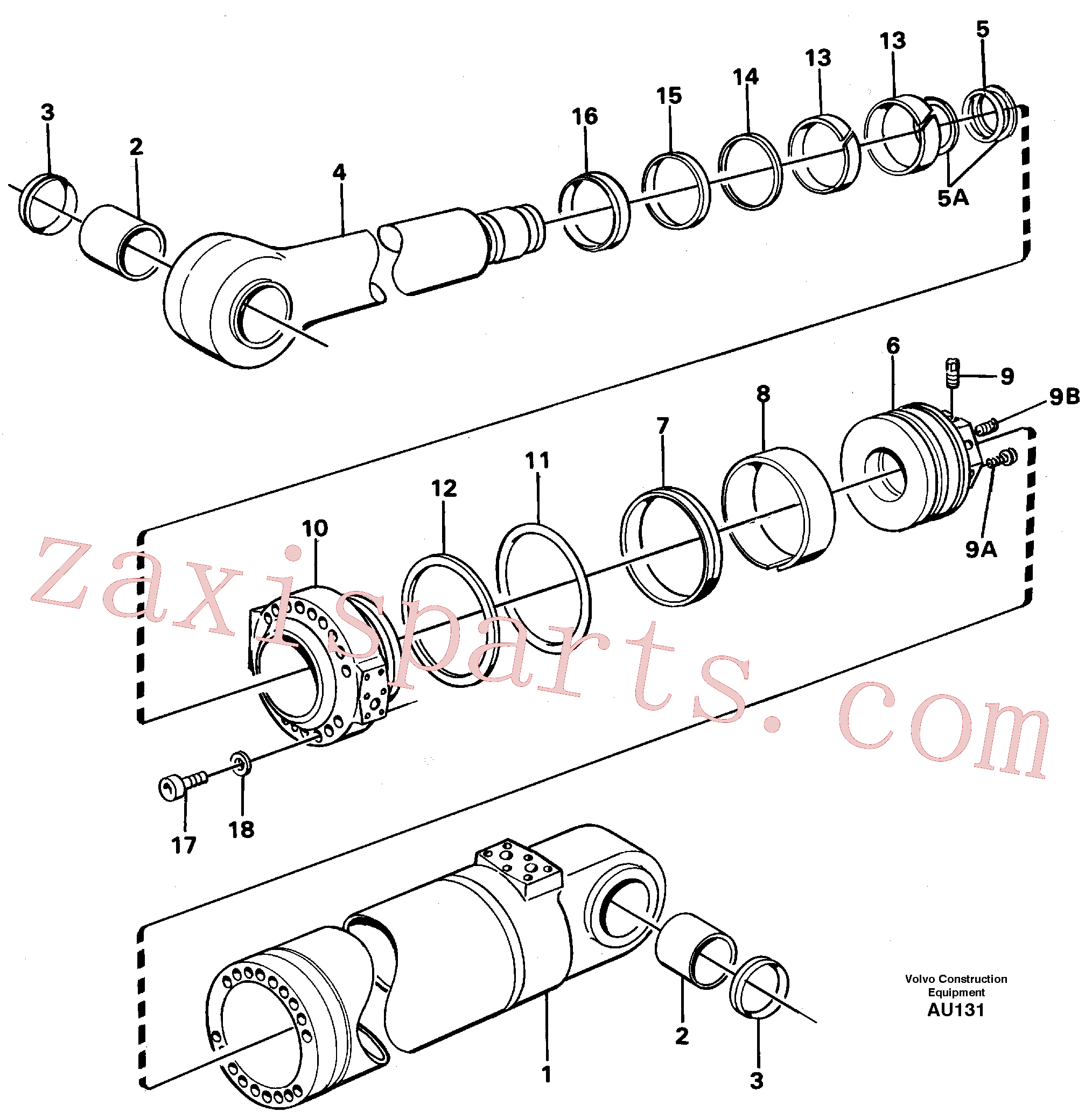 VOE11088323 for Volvo Hydraulic cylinder, tilt(AU131 assembly)