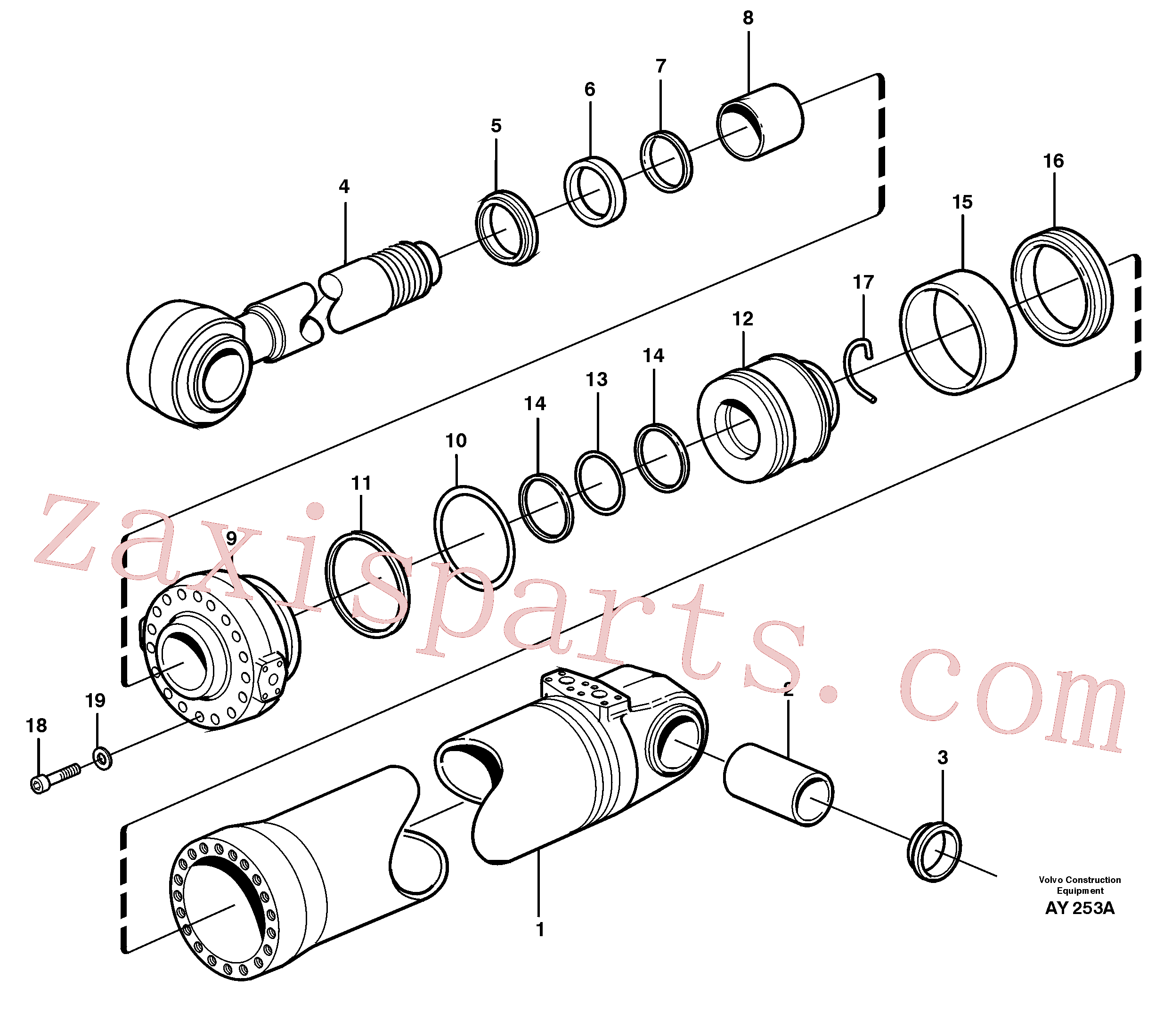 SA9016-22018 for Volvo Hydraulic cylinder, tilt(AY253A assembly)
