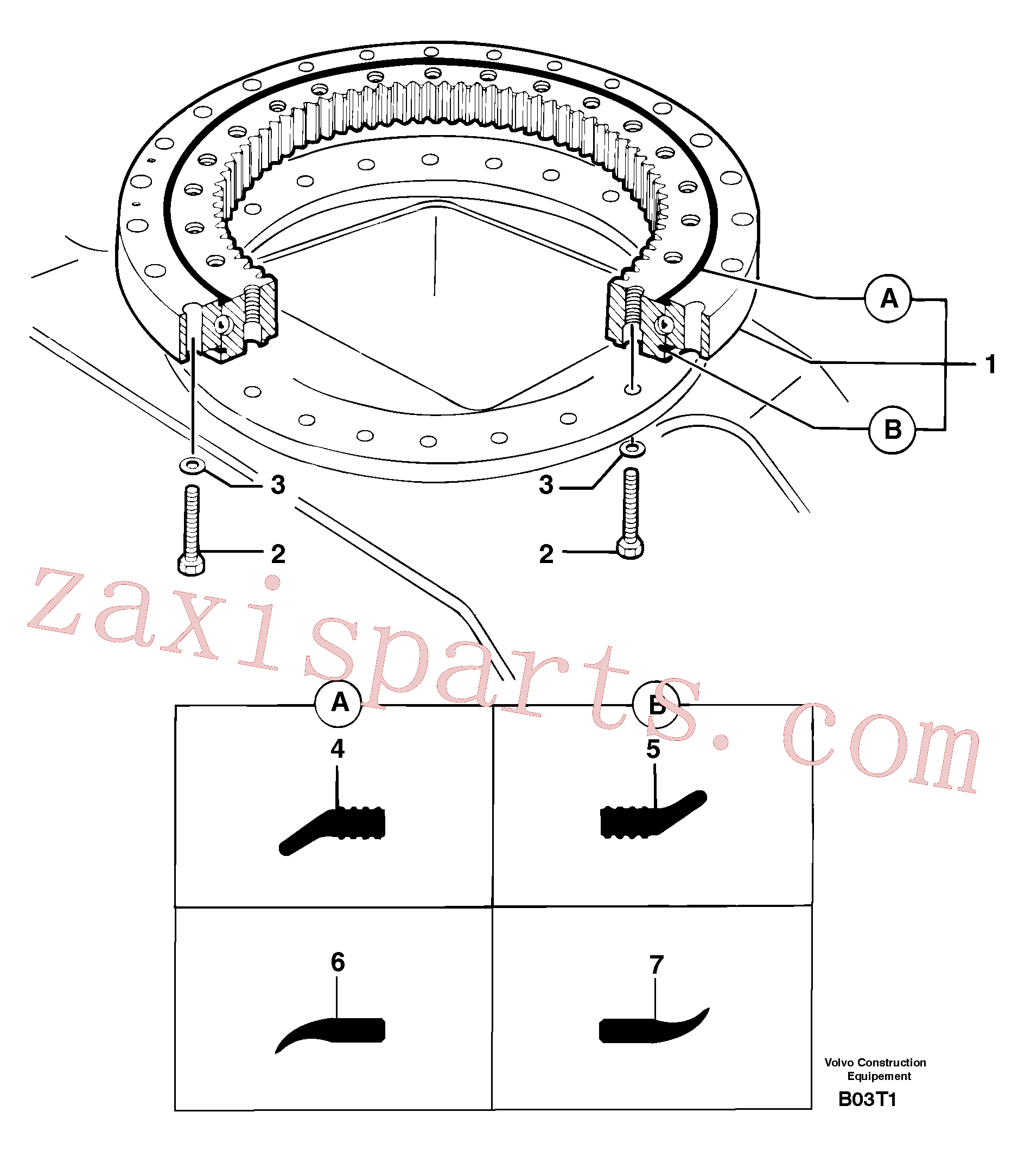 PJ7410003 for Volvo Slewing ring(B03T1 assembly)