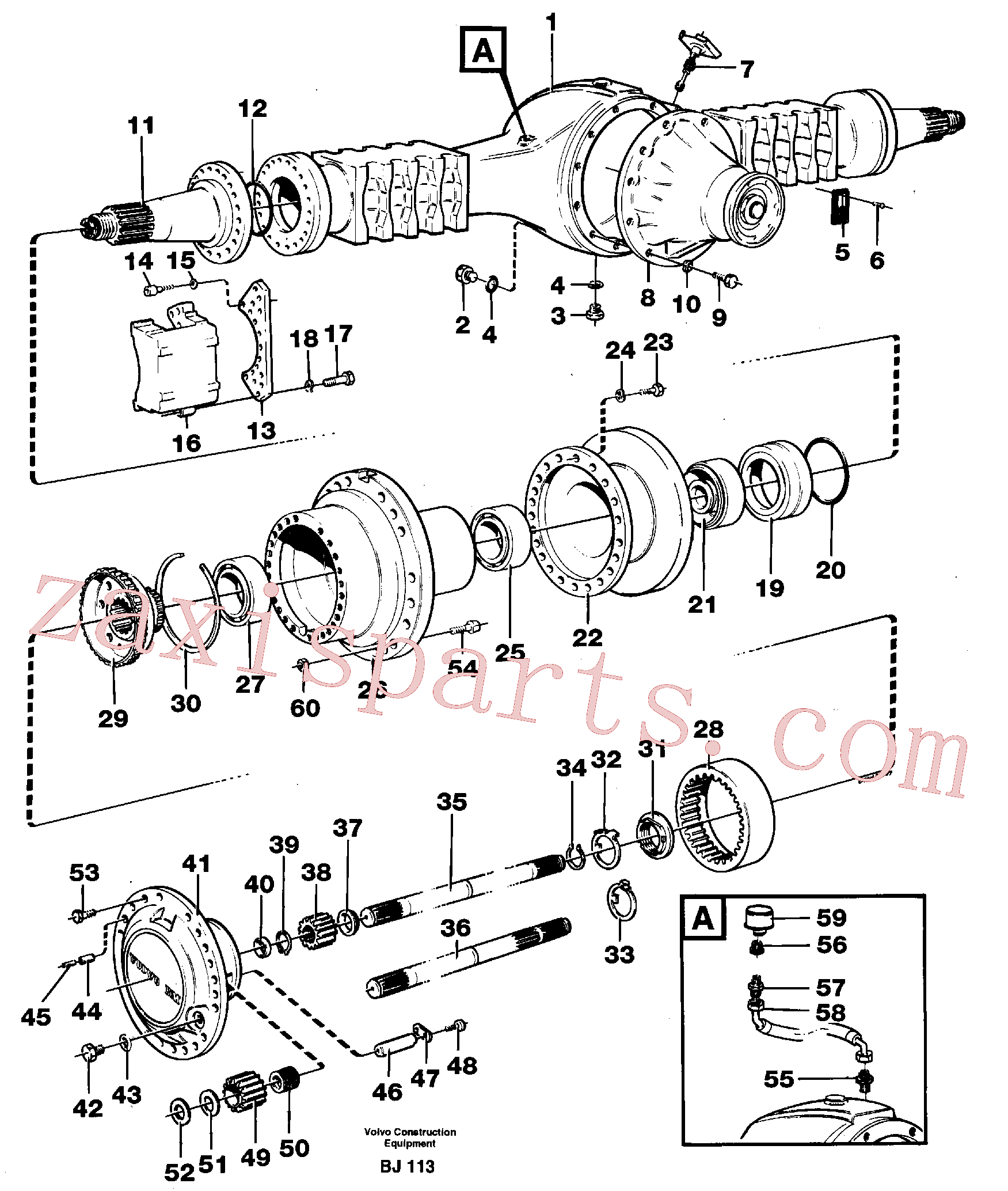 VOE966851 for Volvo Planet shaft(BJ113 assembly)