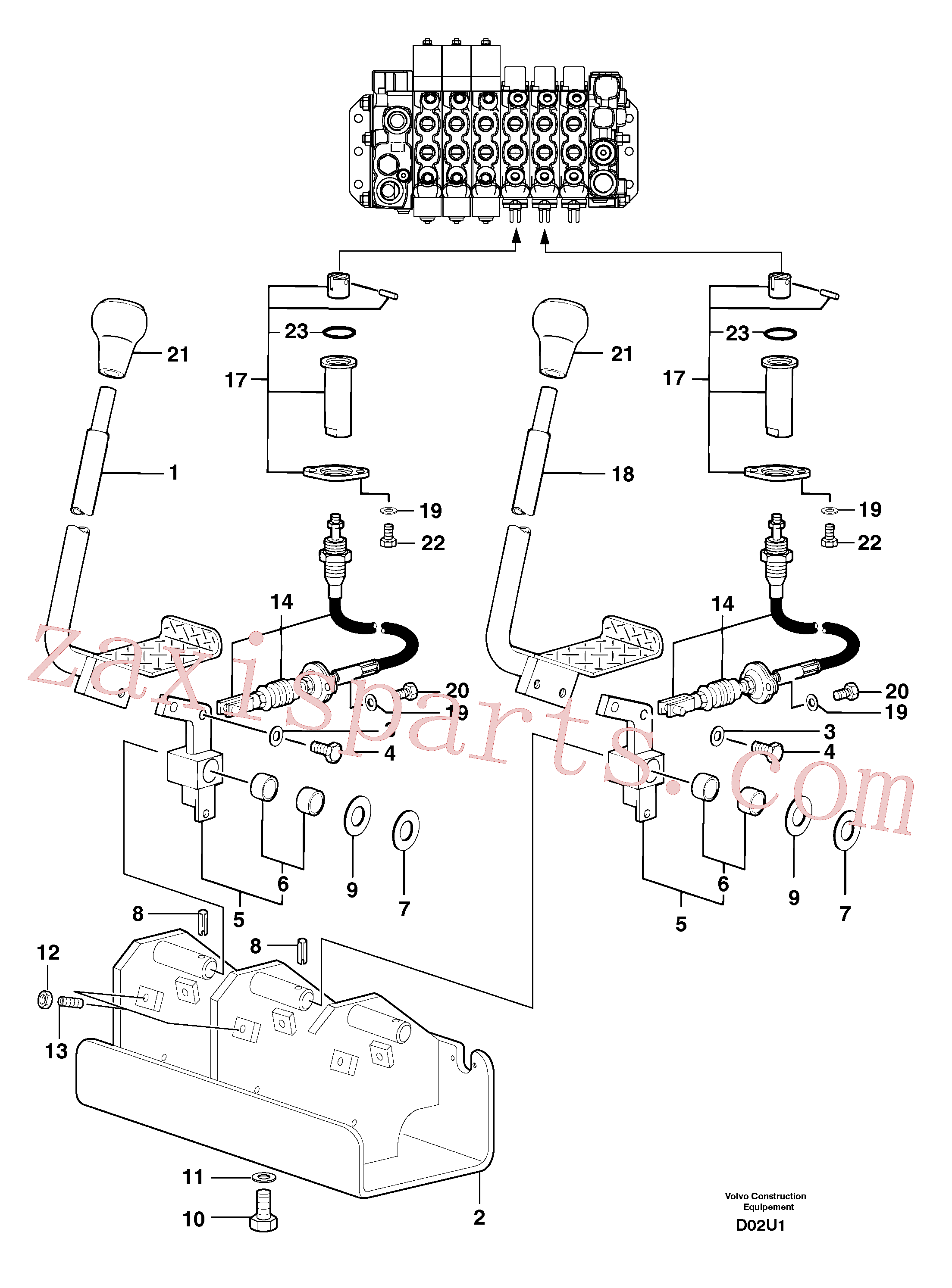 PJ7414522 for Volvo Control levers : travelling(D02U1 assembly)