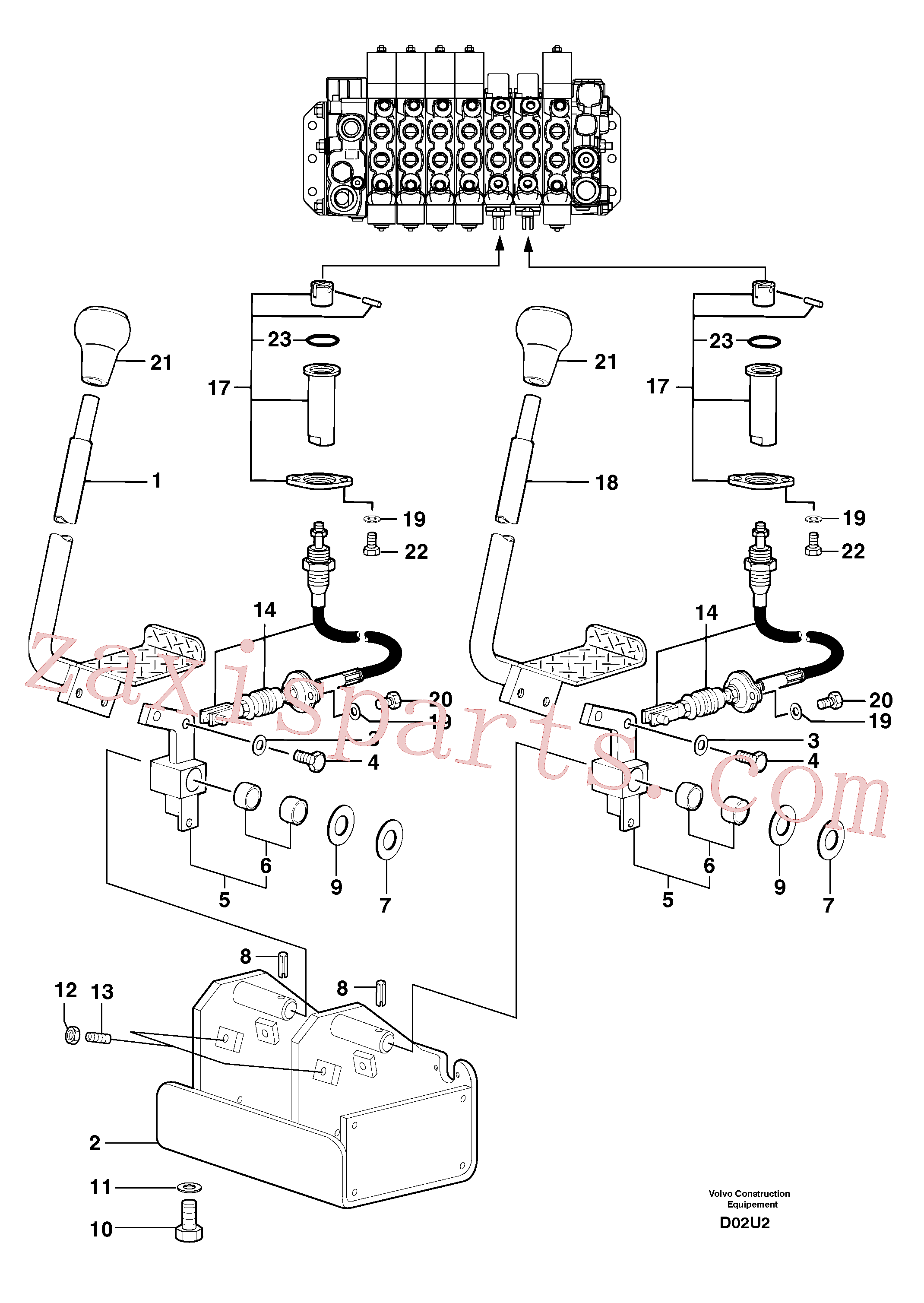 PJ7414522 for Volvo Control levers : travelling(D02U2 assembly)