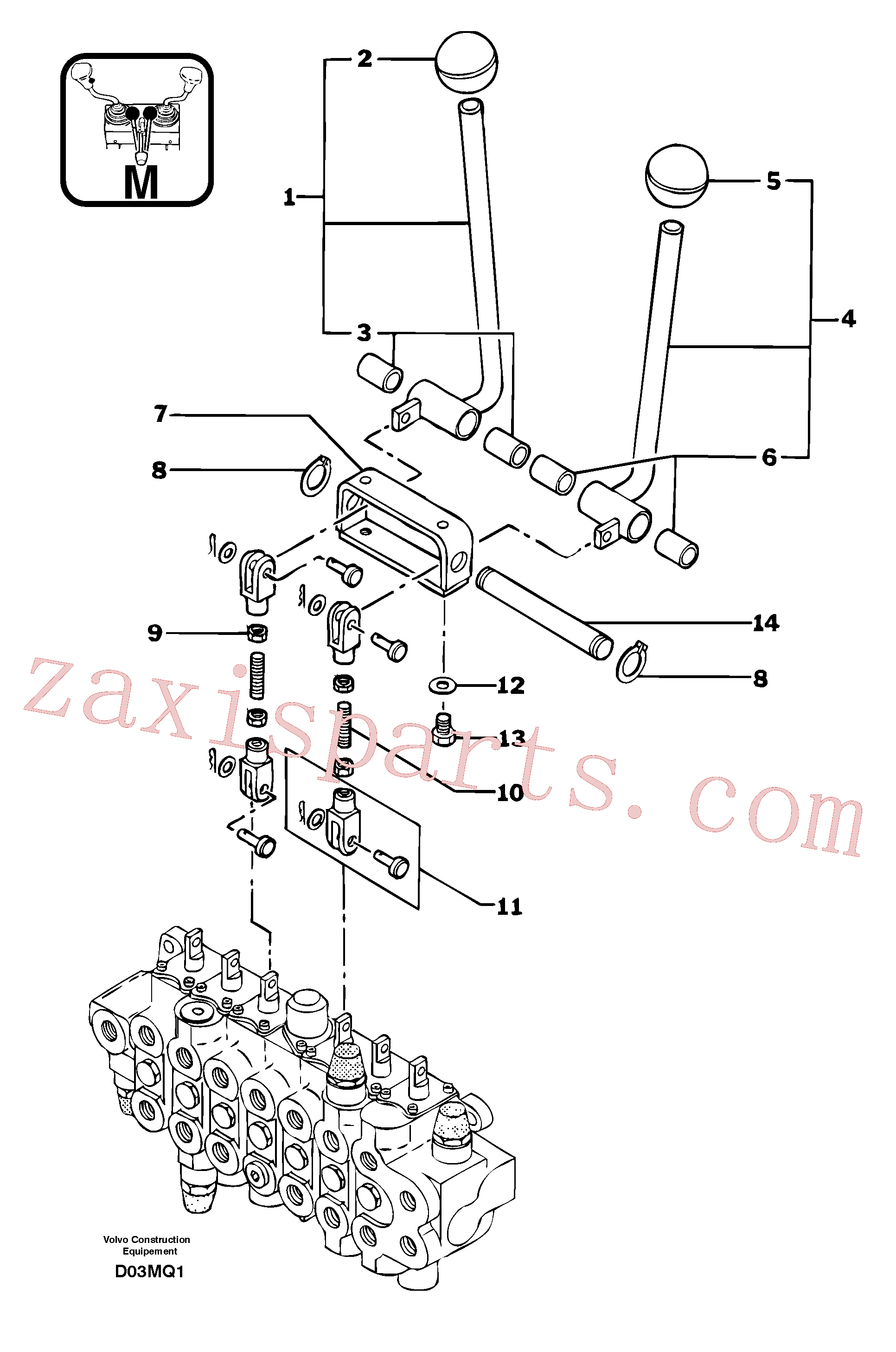 PJ7450062 for Volvo Control levers : travelling(D03MQ1 assembly)