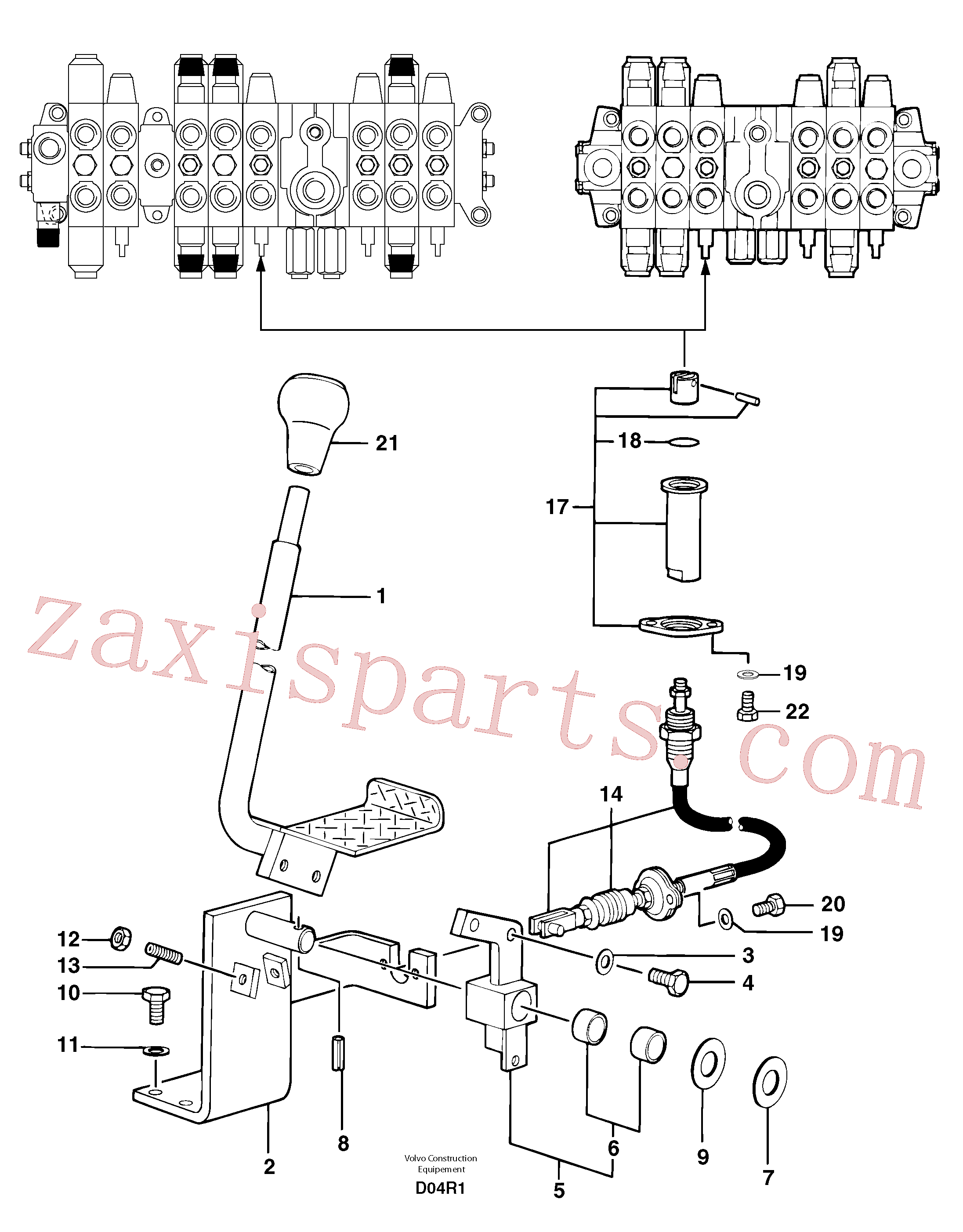 PJ7414522 for Volvo Control lever : travelling ( left )(D04R1 assembly)