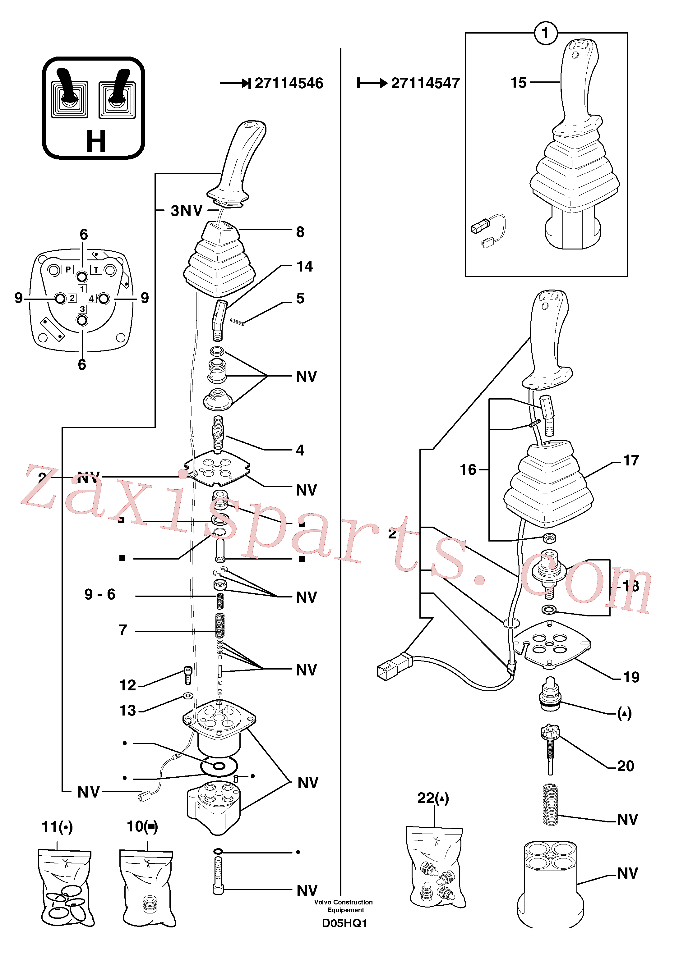 PJ6860221 for Volvo Control lever : boom / bucket ( right )(D05HQ1 assembly)