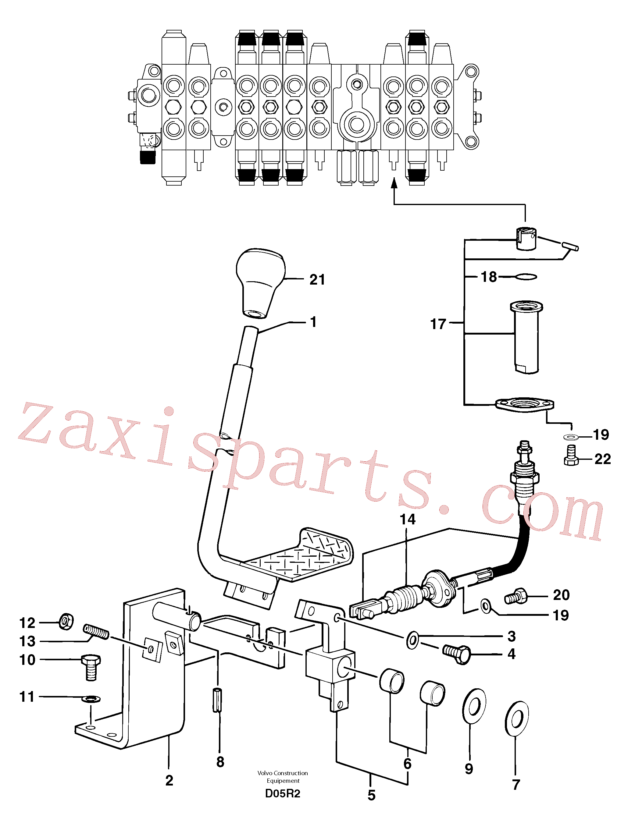PJ7414522 for Volvo Control lever : travelling ( right )(D05R2 assembly)