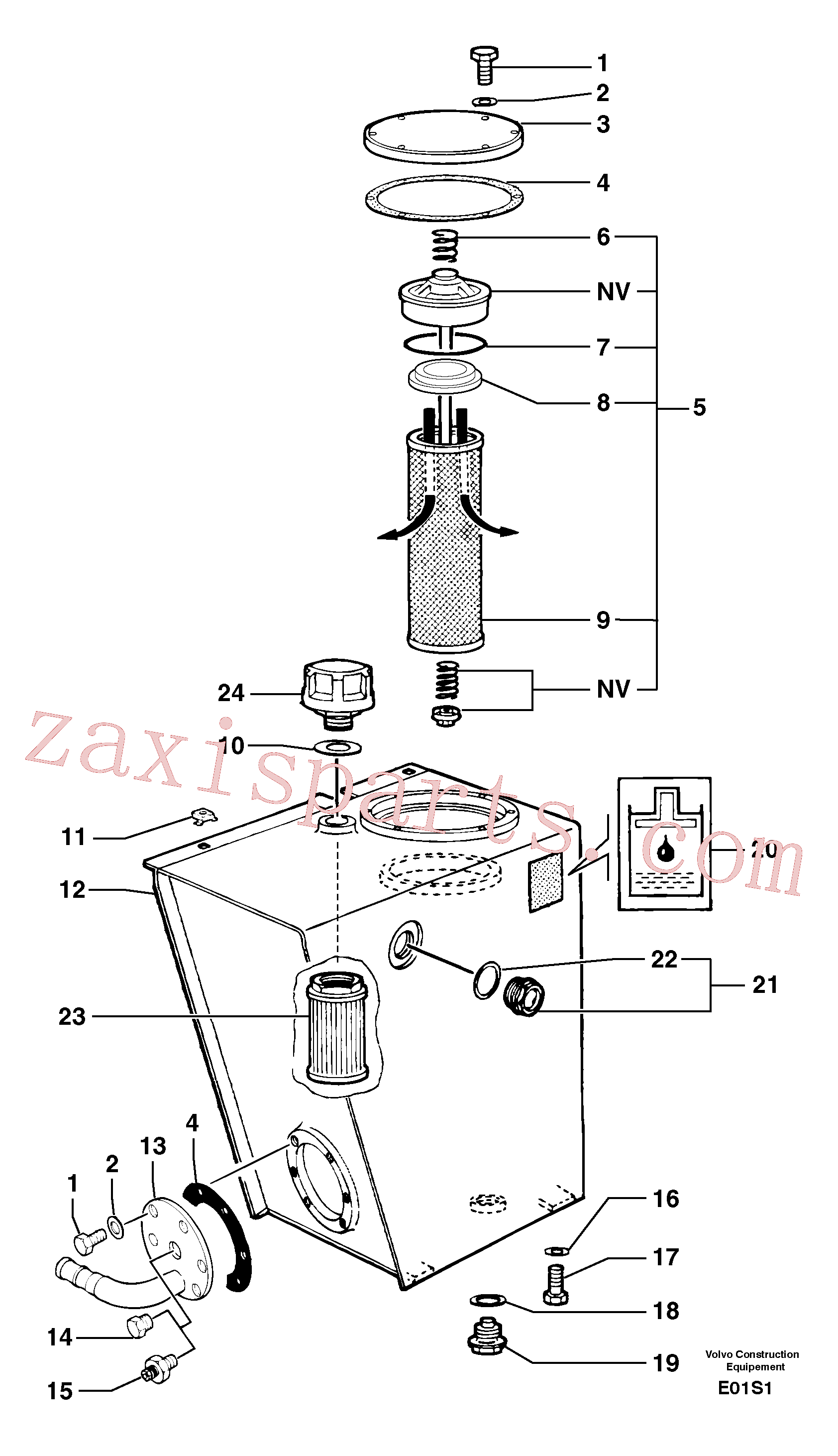 PJ4740043 for Volvo Hydraulic tank(E01S1 assembly)