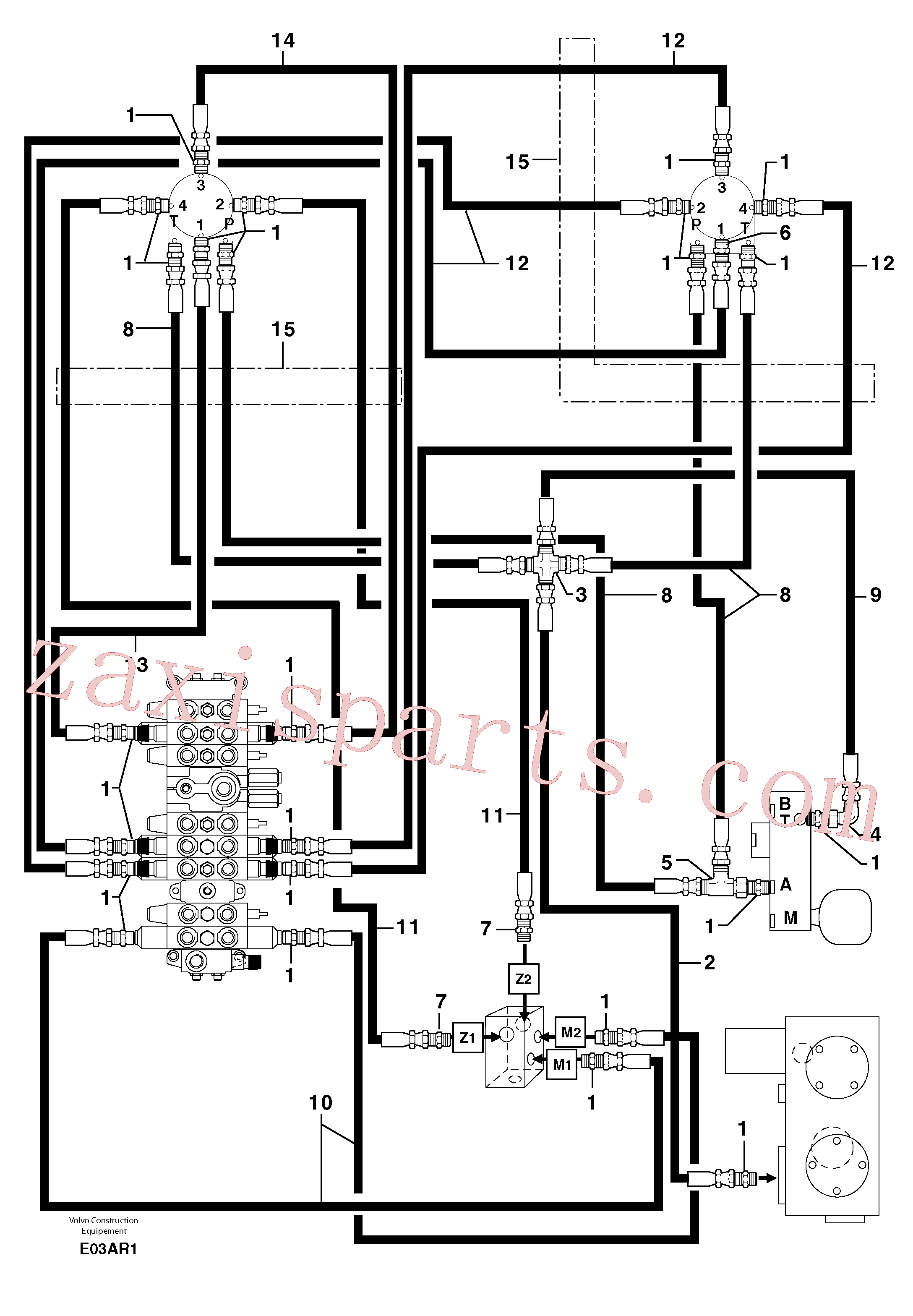 PJ4192456 for Volvo Hydr. circuit ( control's attachment )(E03AR1 assembly)