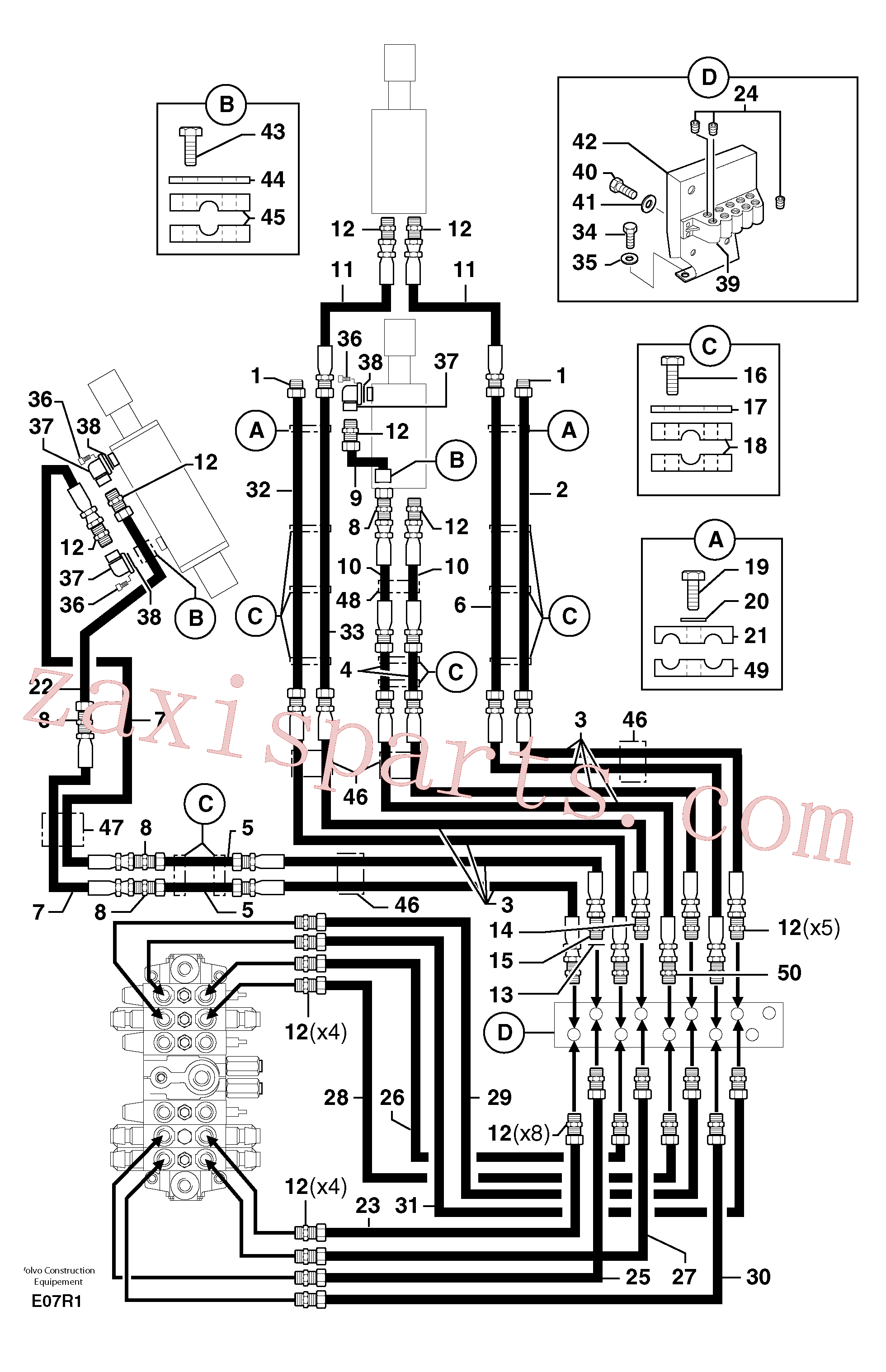PJ4770071 for Volvo Hydr. circuit.( boom / dipper arm / bucket )(E07R1 assembly)