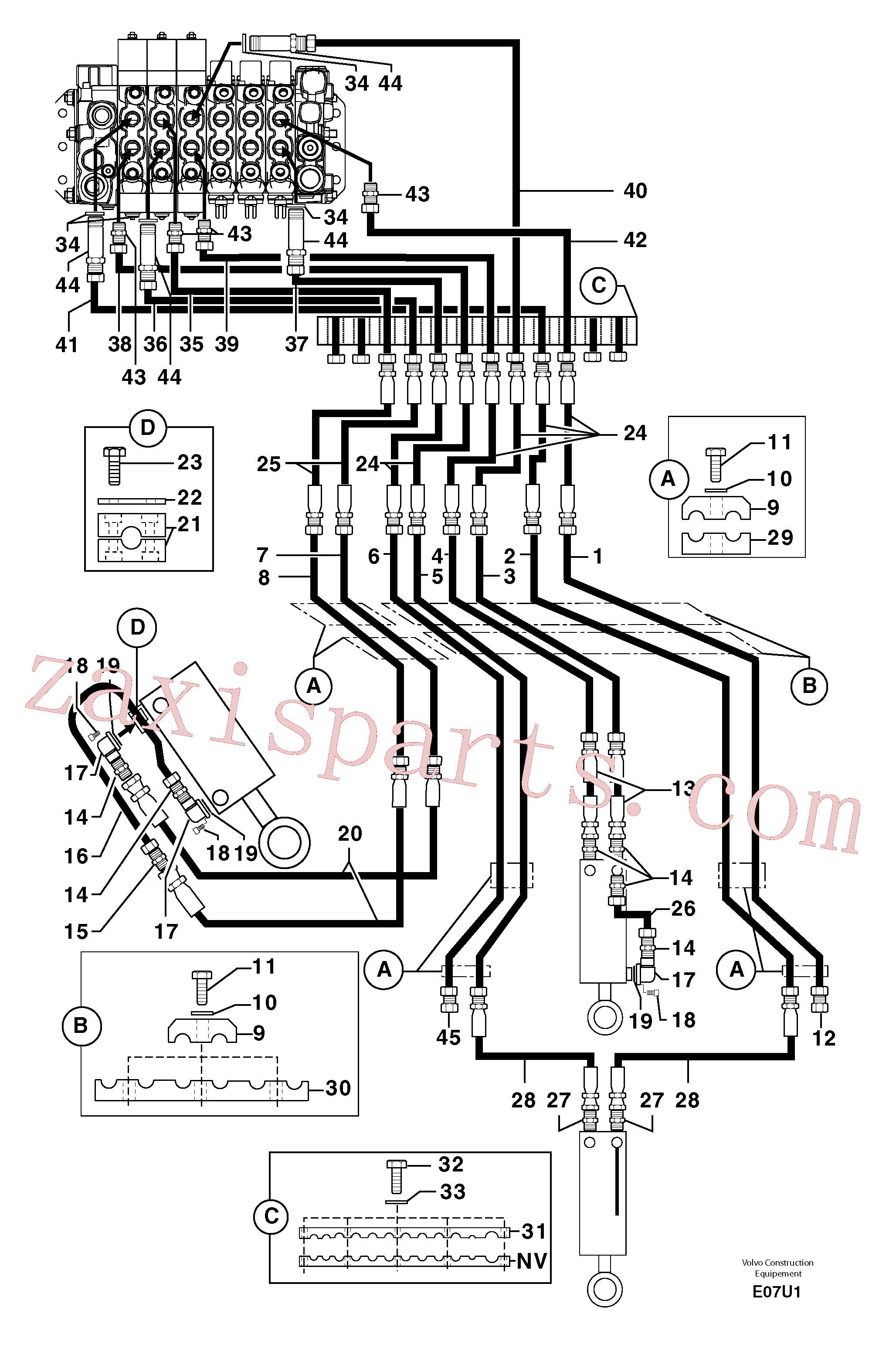 PJ4770071 for Volvo Hydr. circuit.( boom / dipper arm / bucket )(E07U1 assembly)