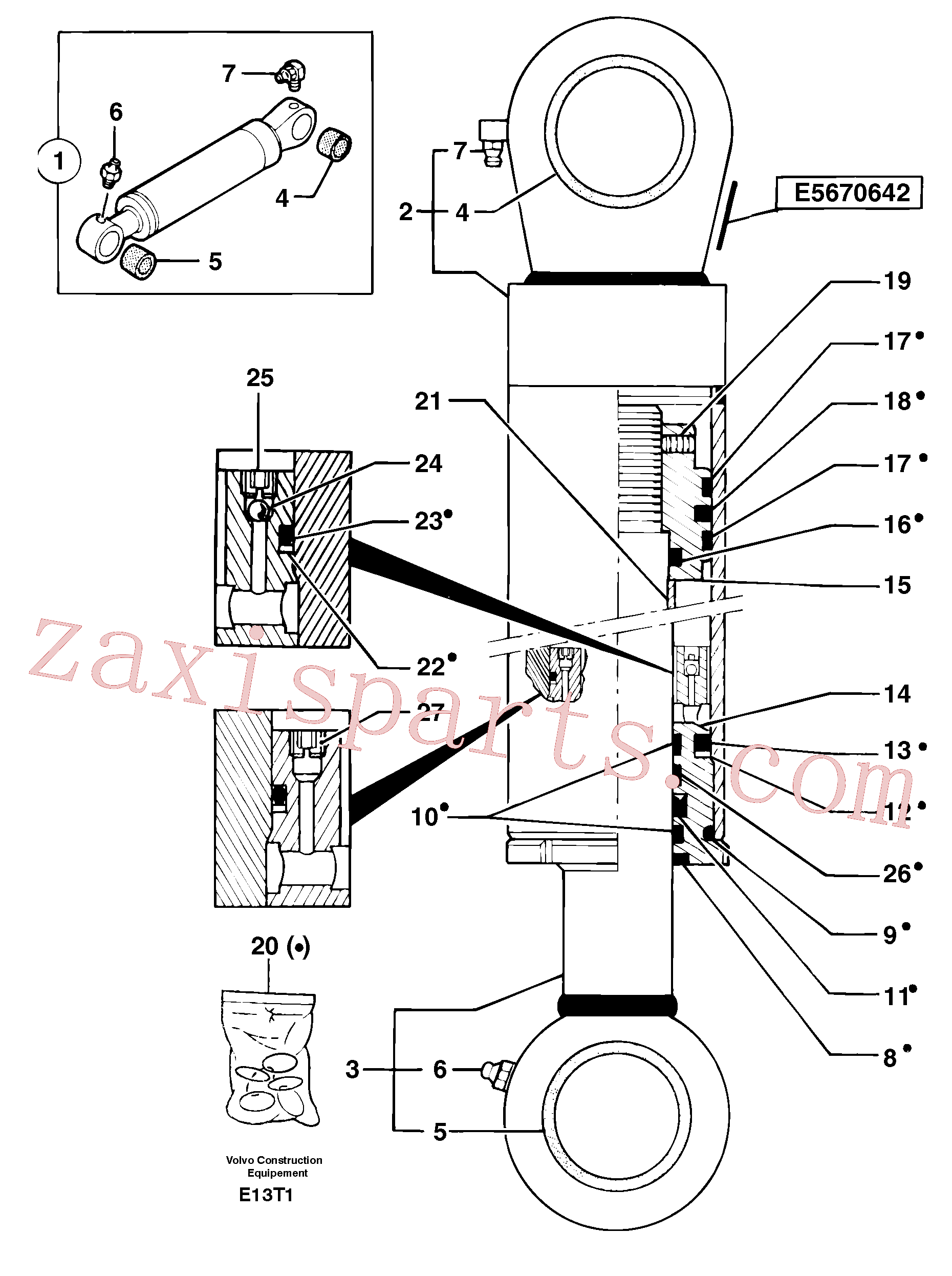 PJ3870066 for Volvo Boom cylinder(E13T1 assembly)