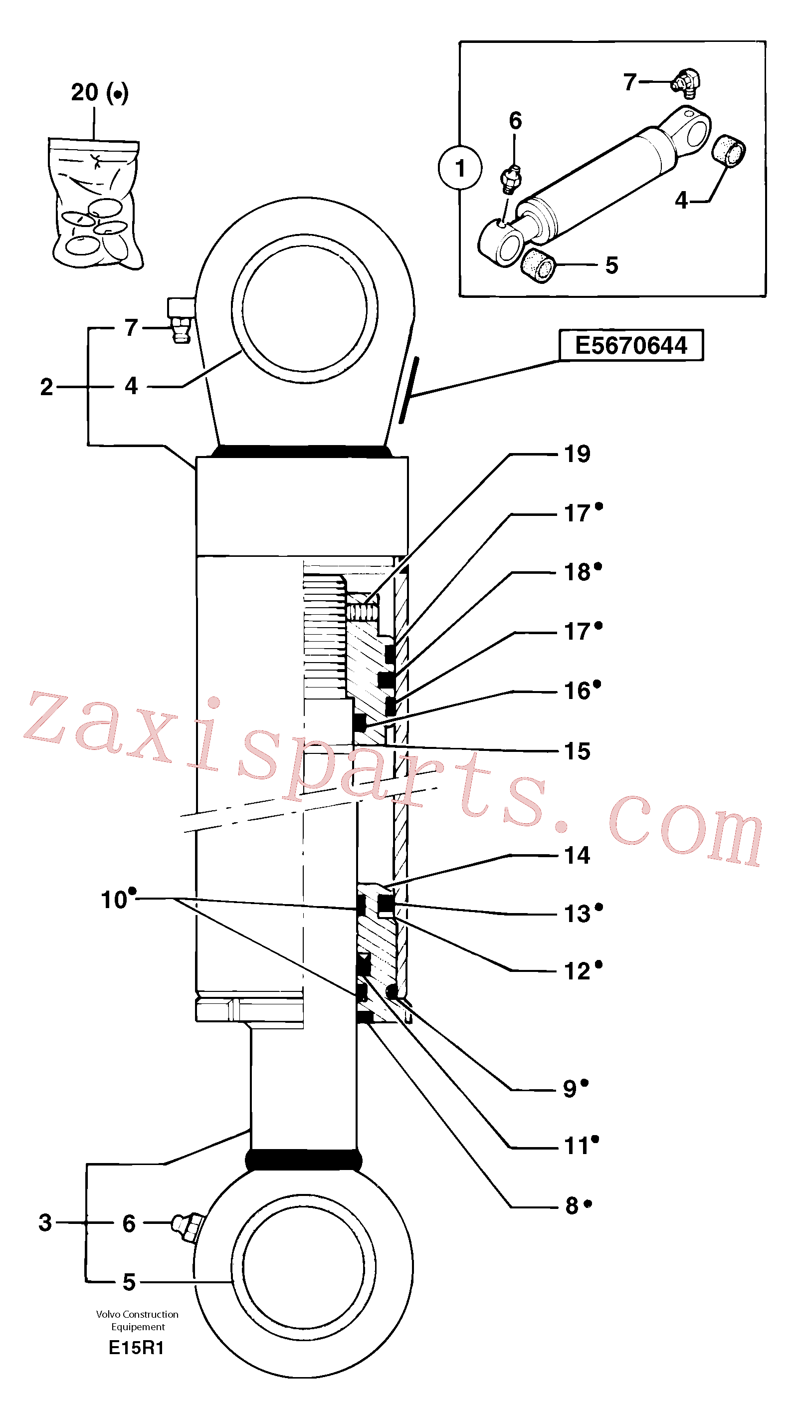 PJ7414563 for Volvo Bucket cylinder(E15R1 assembly)