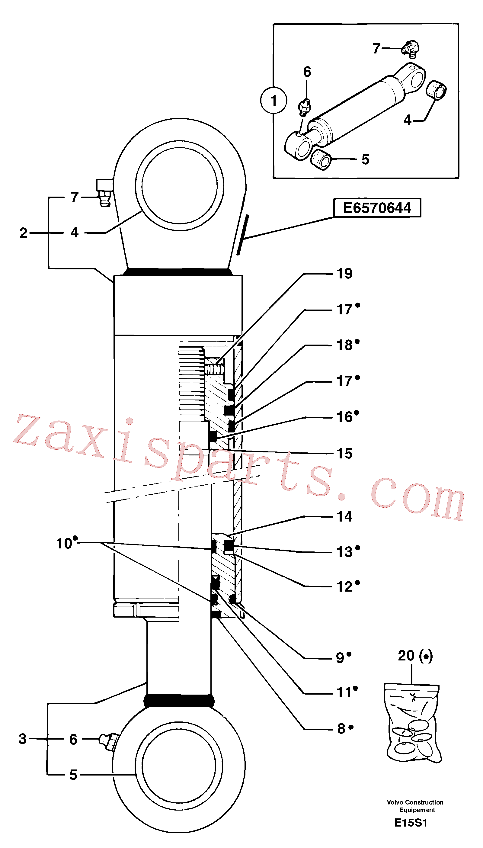 PJ7414563 for Volvo Bucket cylinder(E15S1 assembly)