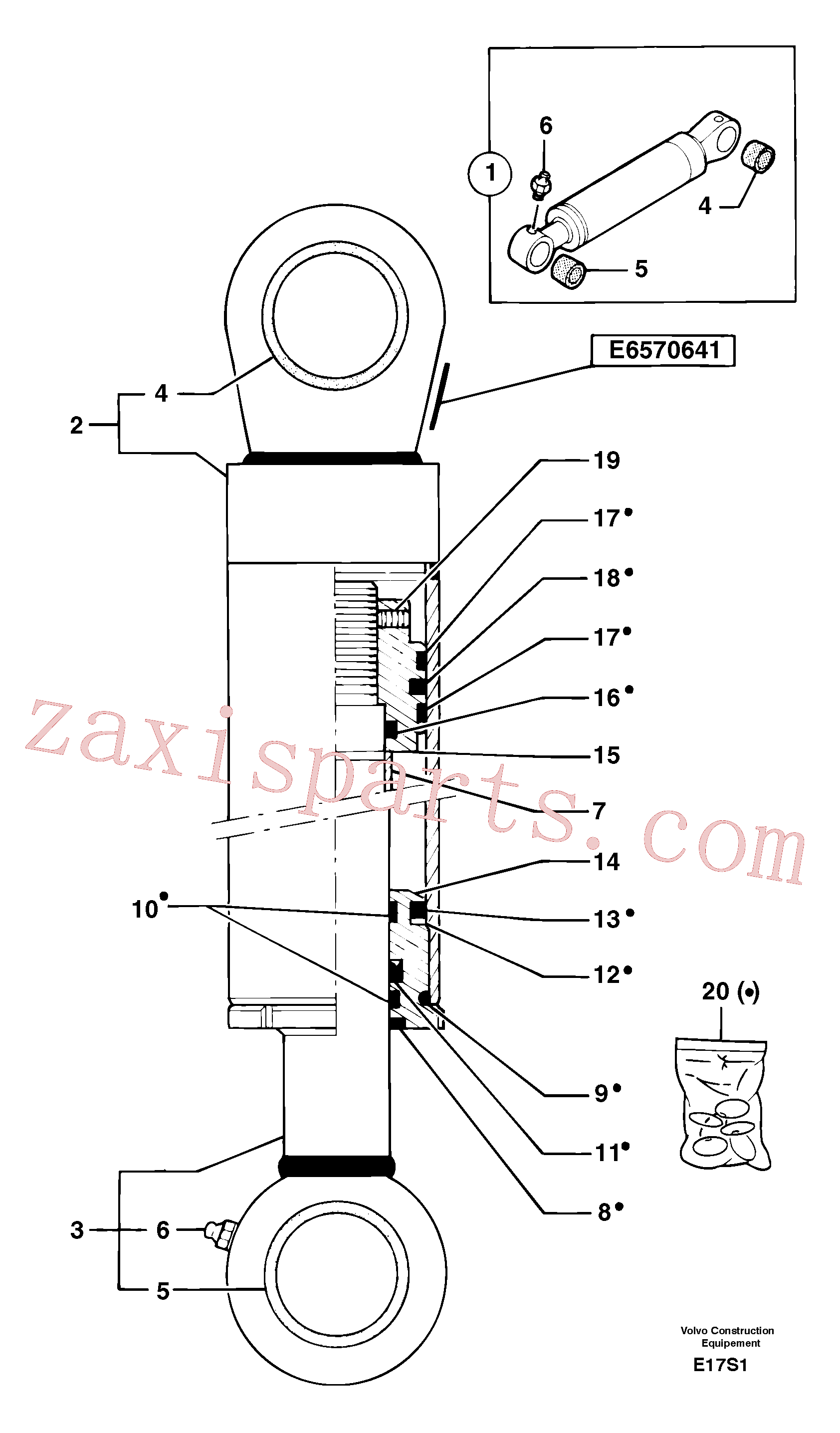 PJ7414622 for Volvo Boom offset cylinder(E17S1 assembly)