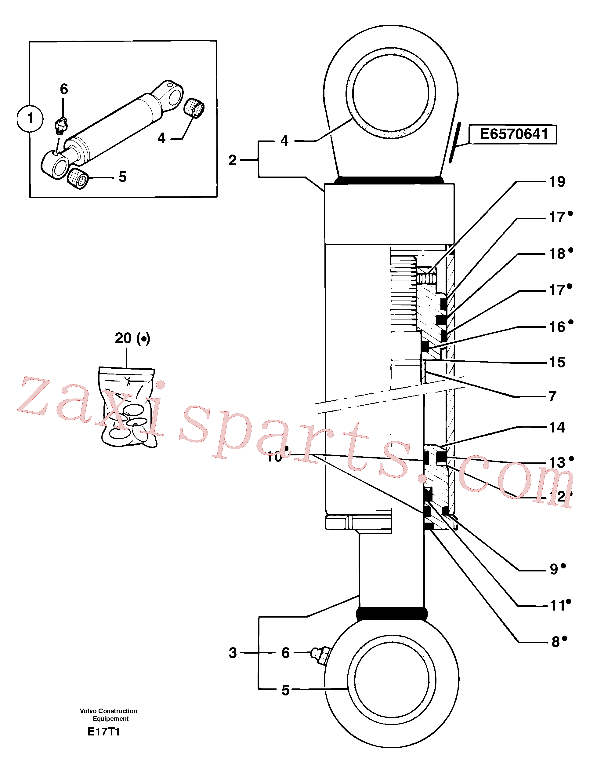 PJ7414622 for Volvo Boom offset cylinder(E17T1 assembly)