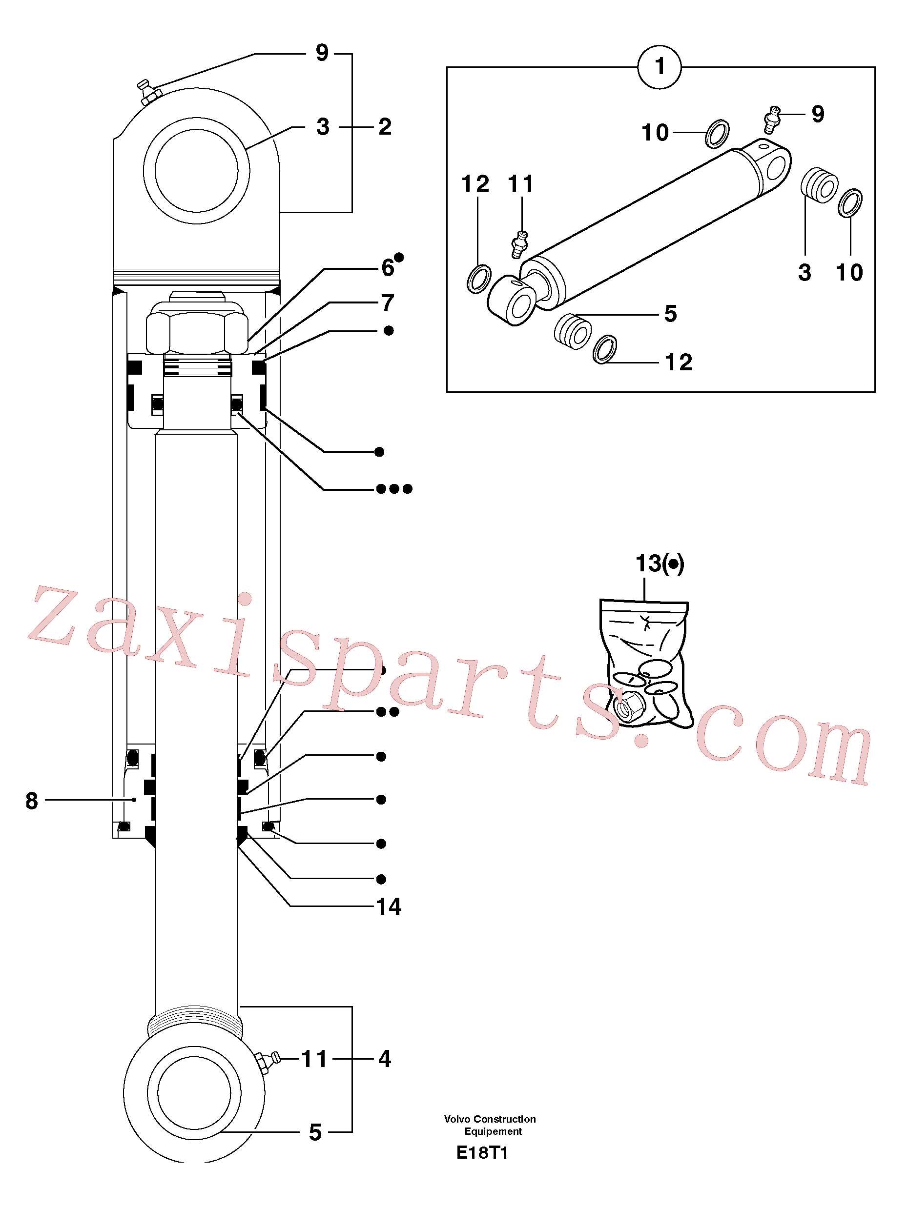 PJ5930268 for Volvo Intermediate boom cylinder(E18T1 assembly)