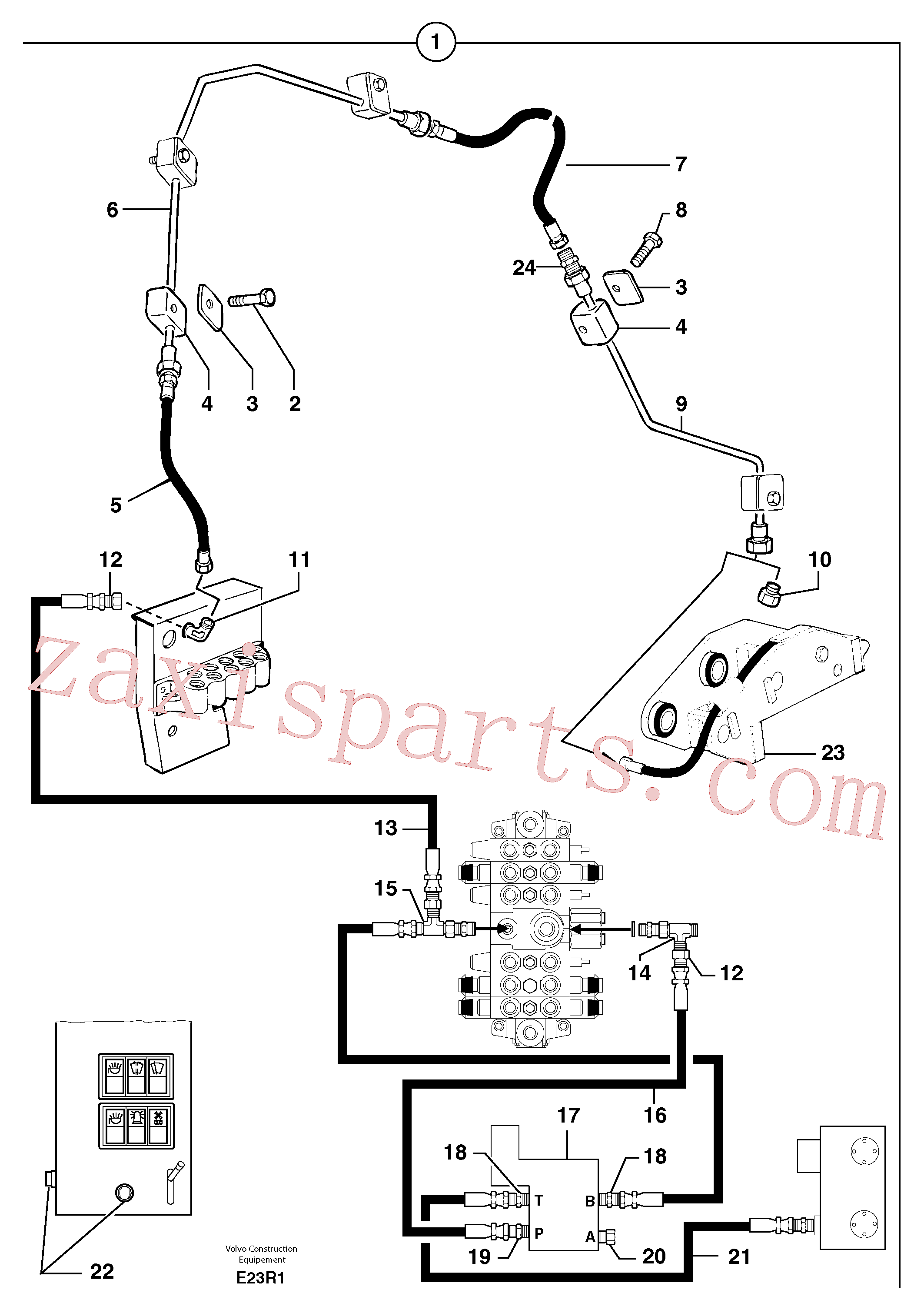 PJ4190203 for Volvo Hydraulic circuit ( snap-action attachment )(E23R1 assembly)