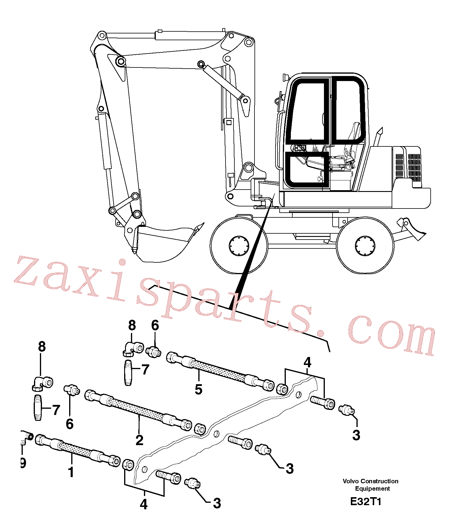 PJ4190183 for Volvo Lubrication chart(E32T1 assembly)