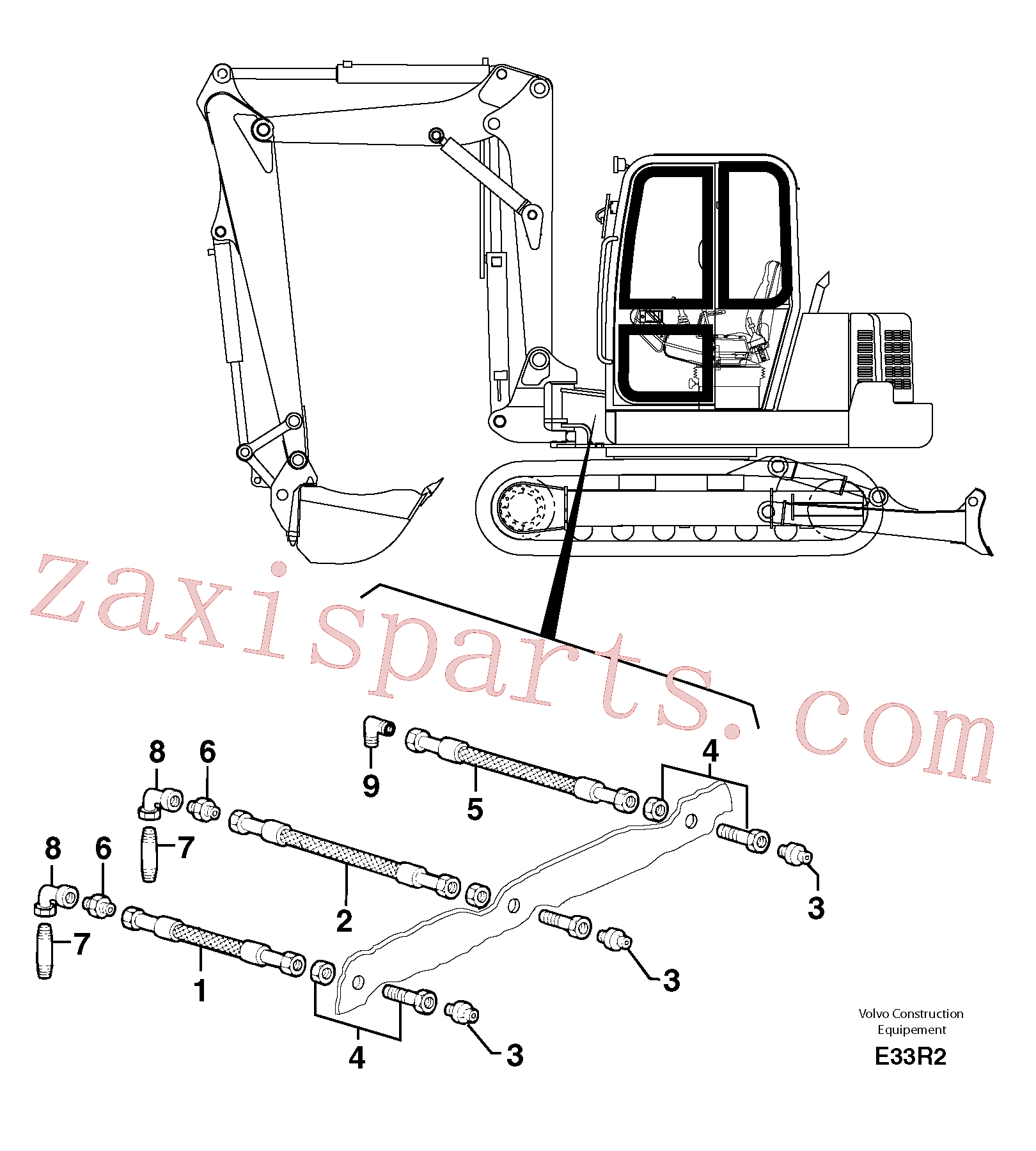 PJ4190183 for Volvo Lubrication chart(E33R2 assembly)
