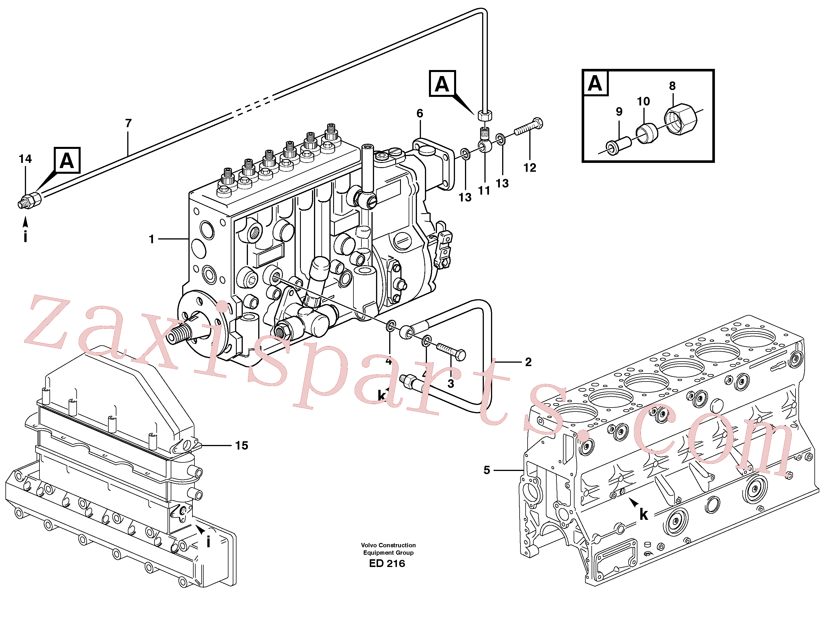 VOE13954378 for Volvo Fuel system, oil pipe, pipe for smoke limiter(ED216 assembly)