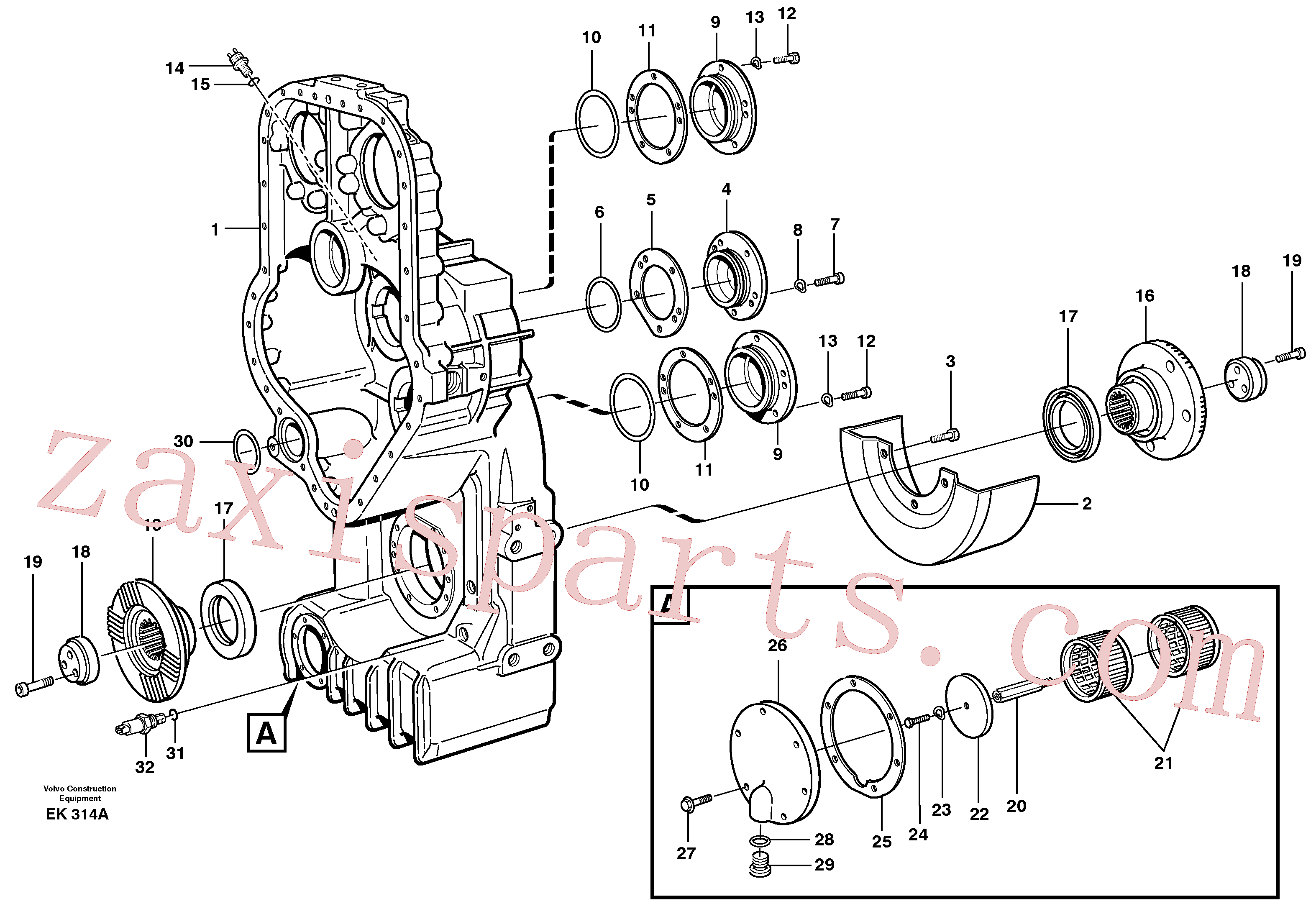 VOE11037588 for Volvo Transfer case, housing and covers(EK314A assembly)