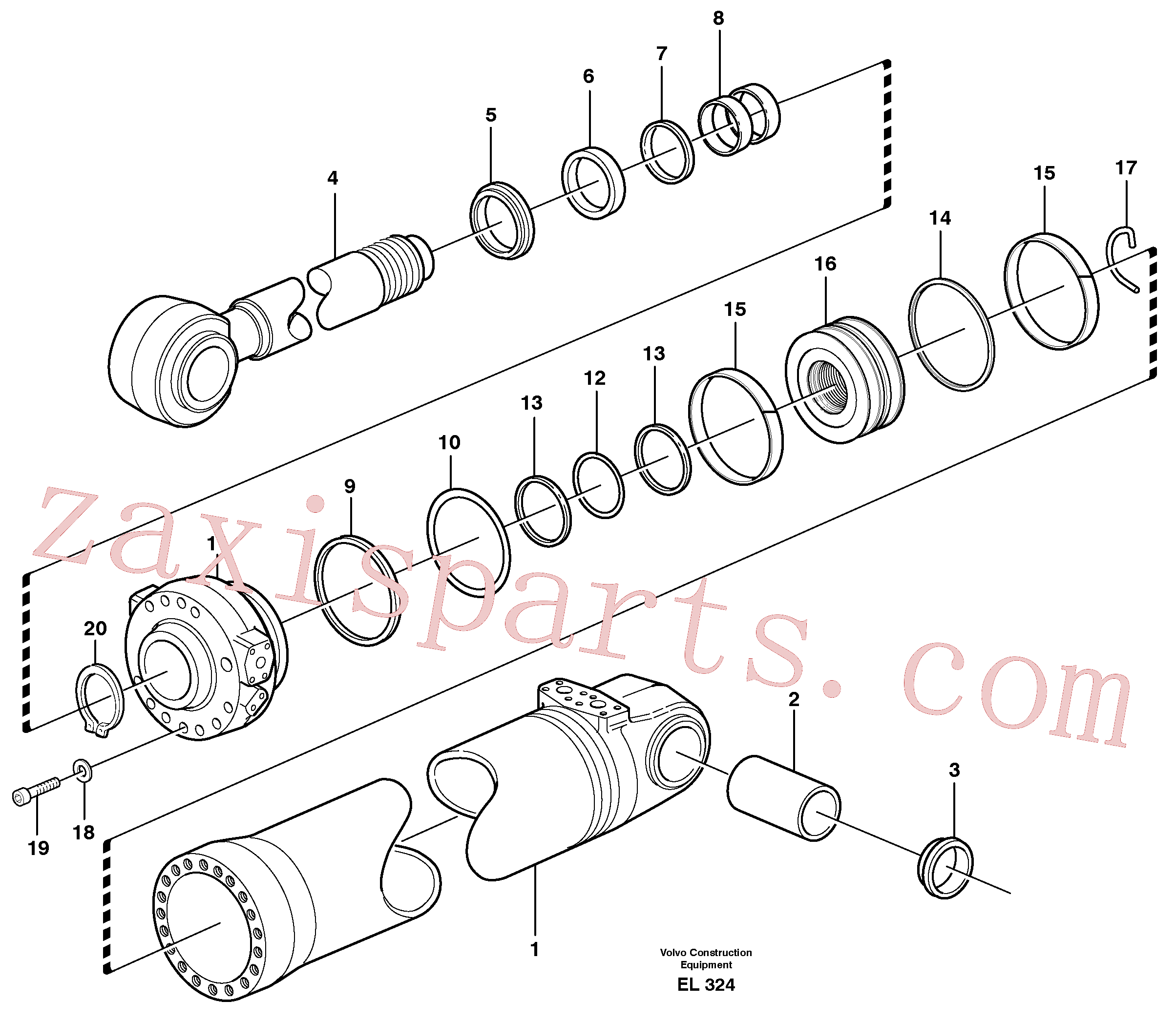 SA9016-22018 for Volvo Hydraulic cylinder, tilting(EL324 assembly)