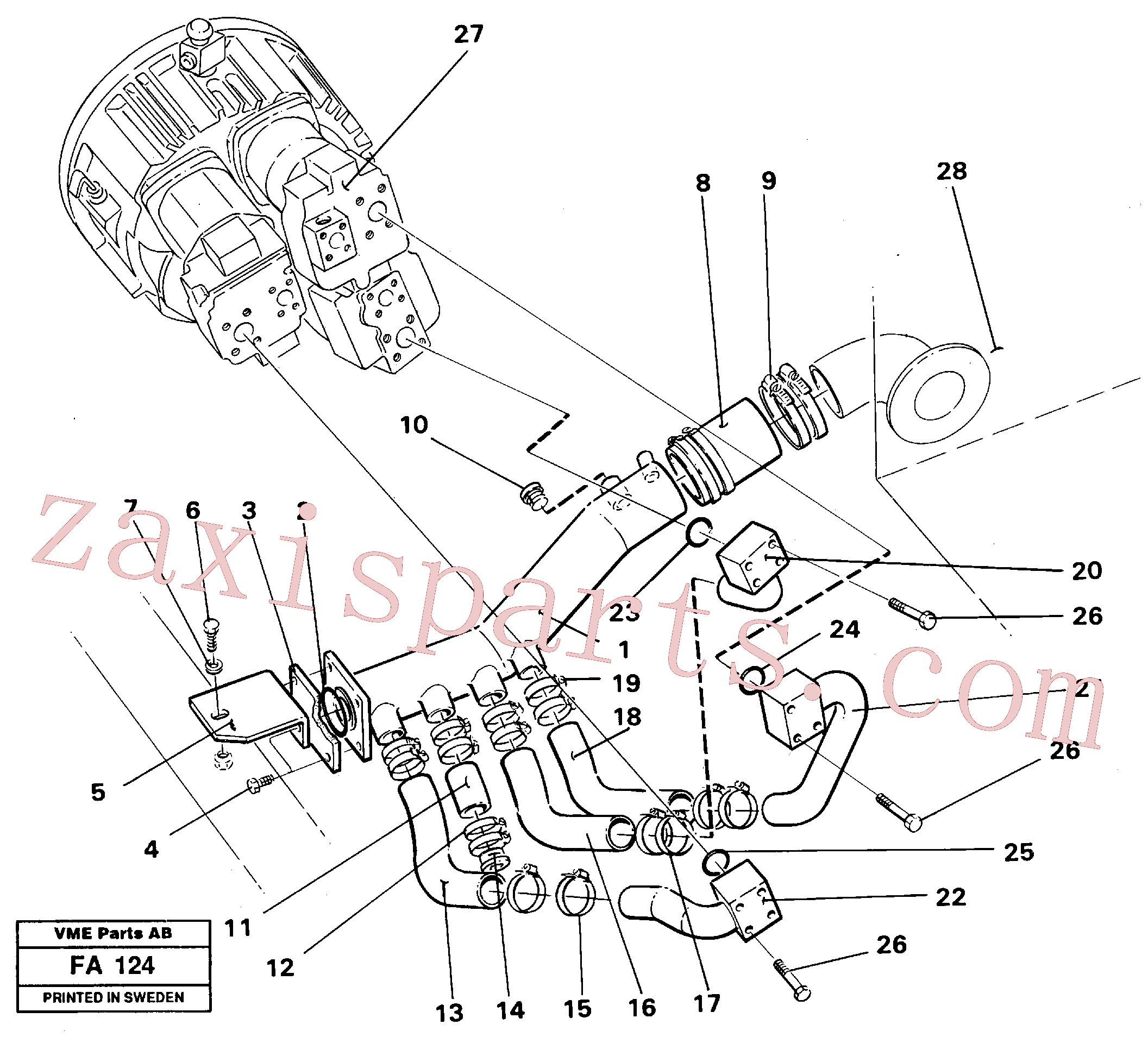 VOE14238070 for Volvo Hydraulic system suction lines(FA124 assembly)