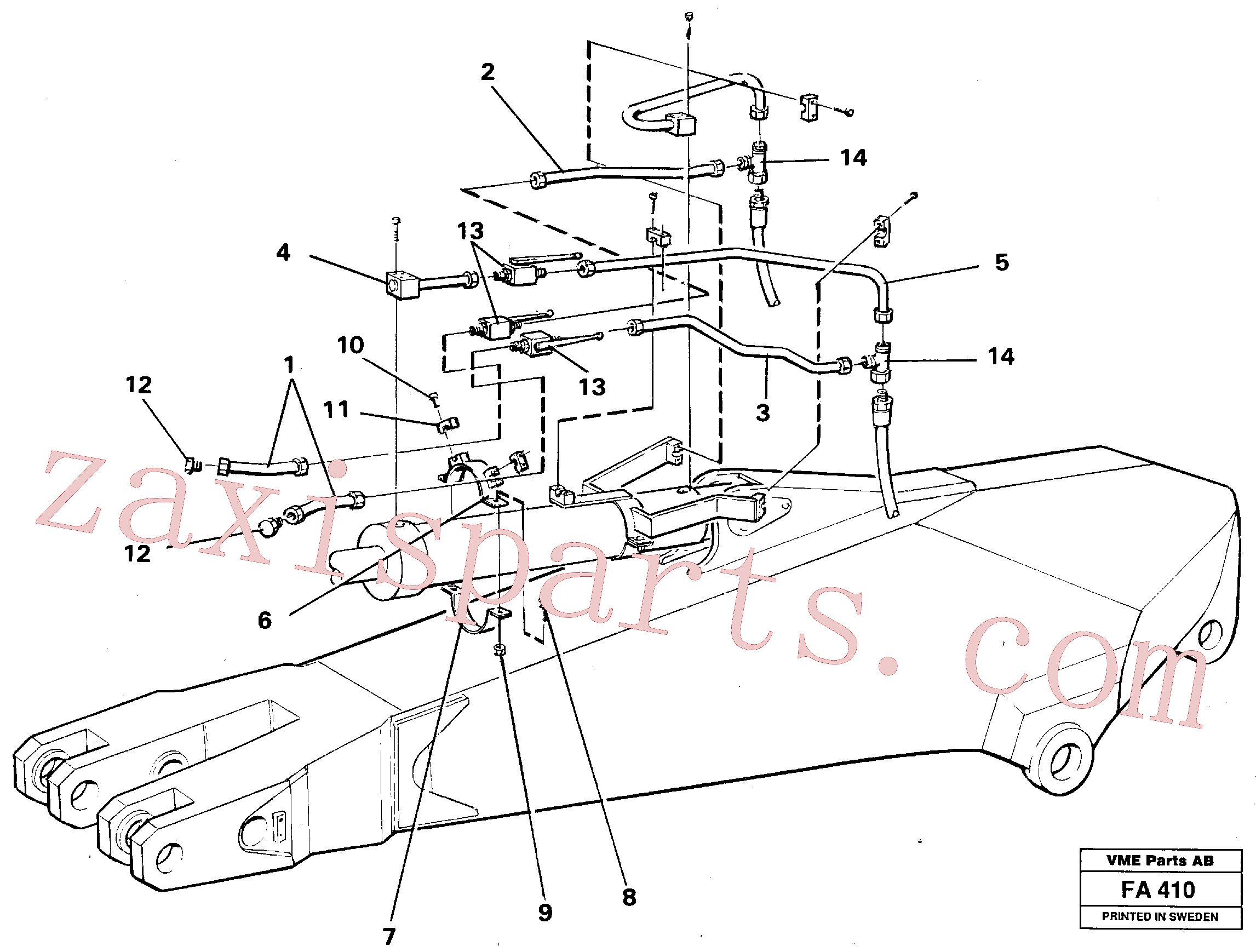 VOE14249975 for Volvo Parallel connected grab hydraulics incl. shut-offcocks on dipper arms.(FA410 assembly)