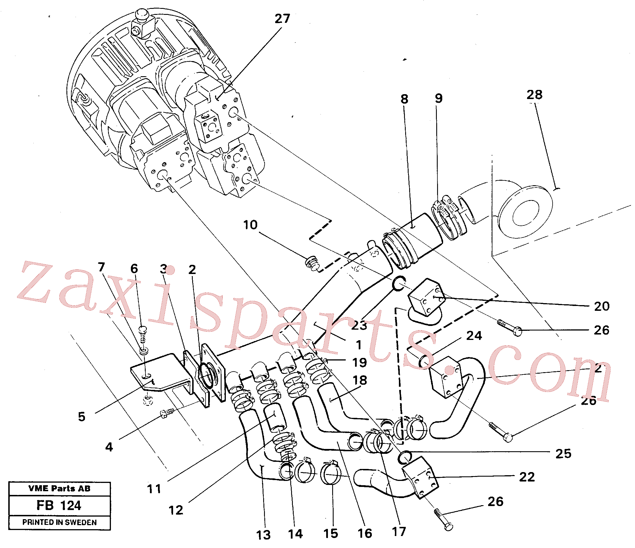VOE14238070 for Volvo Hydraulic system suction lines(FB124 assembly)