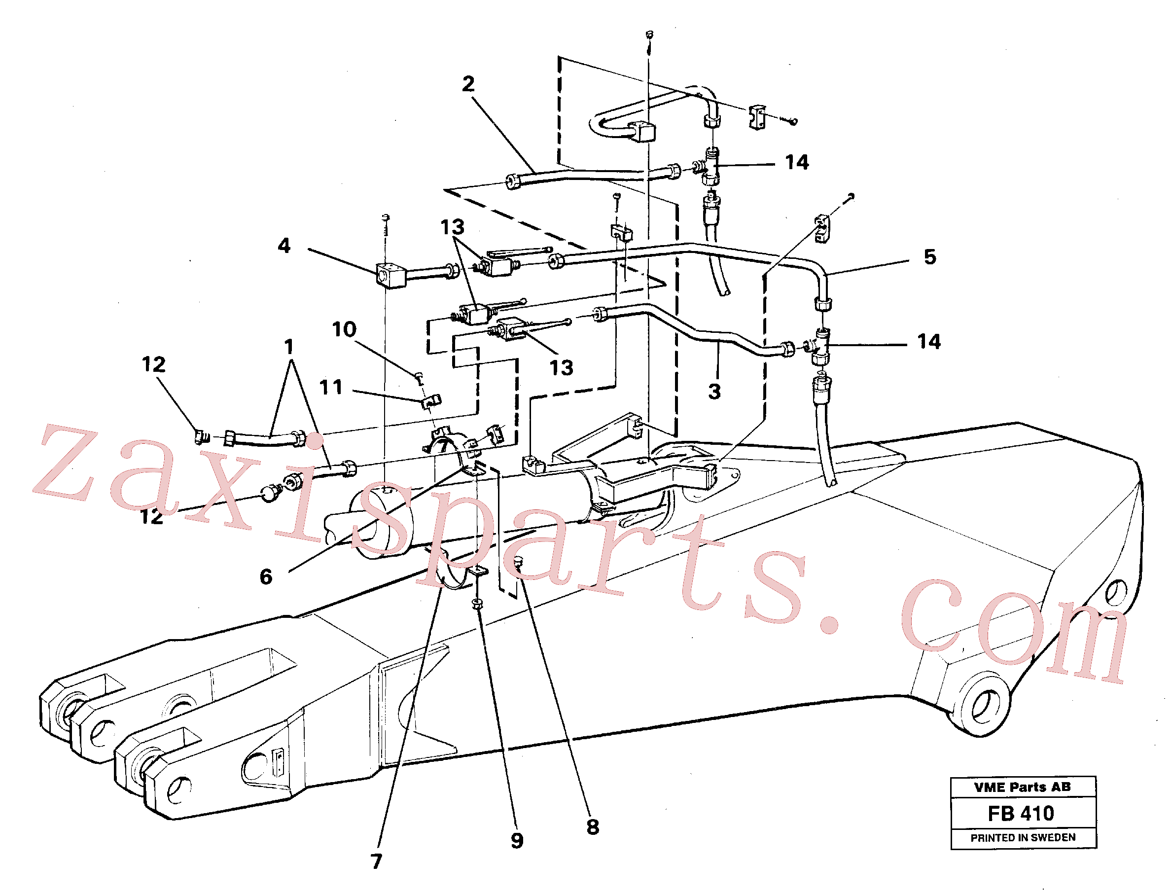 VOE14249975 for Volvo Parallel connected grab hydraulics incl. shut-offcocks on dipper arms(FB410 assembly)