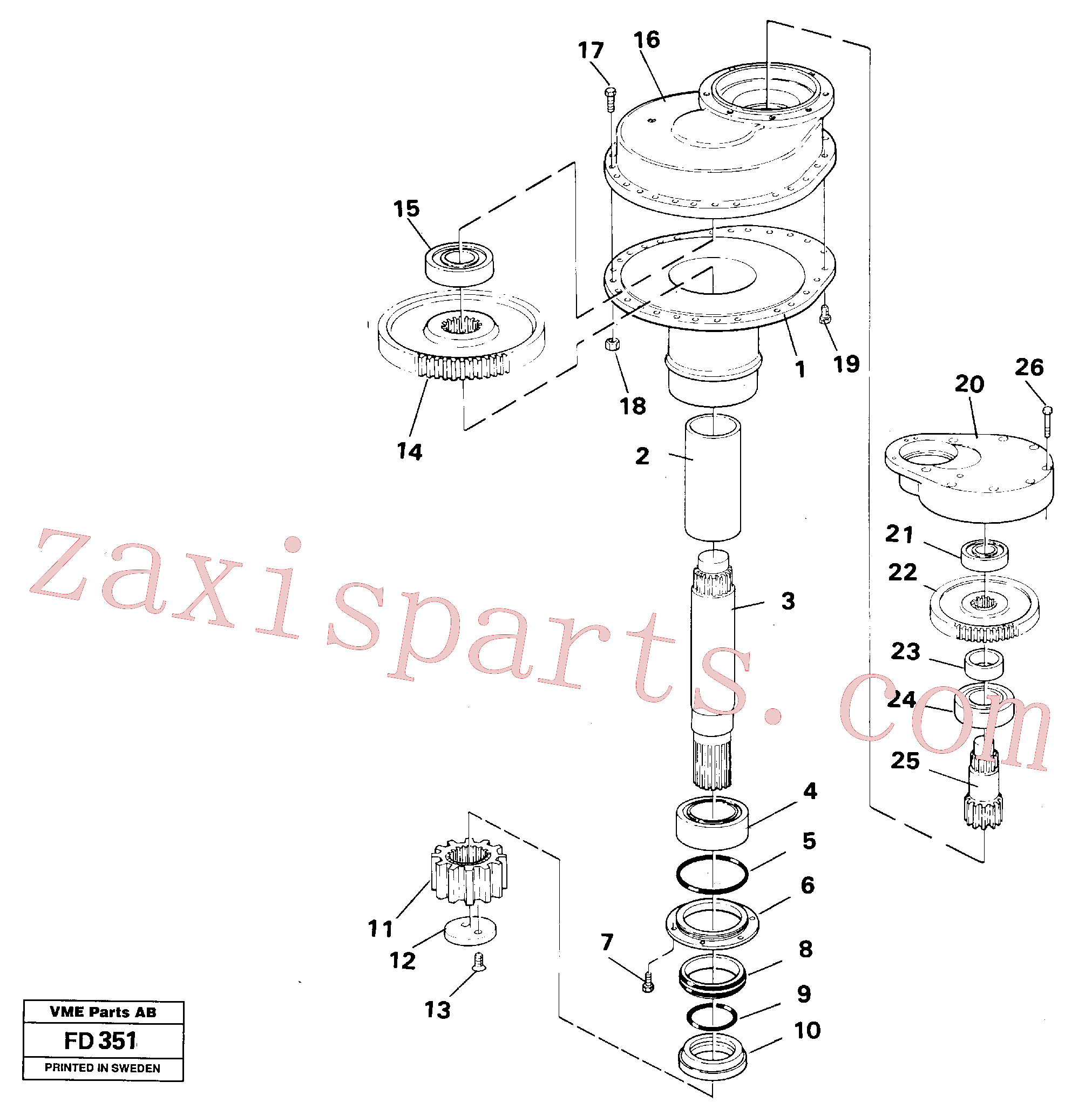 VOE14014695 for Volvo Swing gearbox(FD351 assembly)