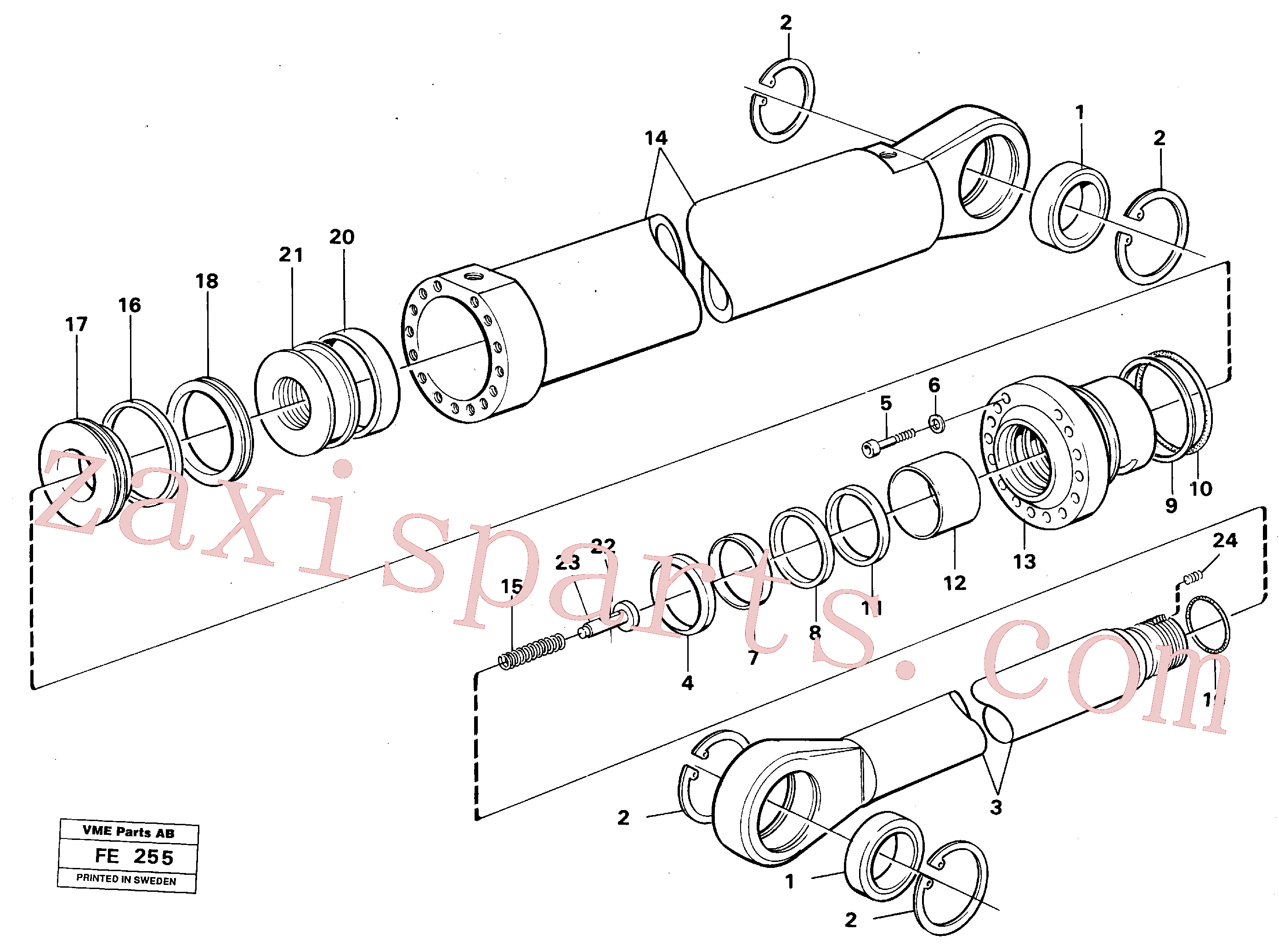 VOE14210876 for Volvo Boom- and bucket cylinder(FE255 assembly)
