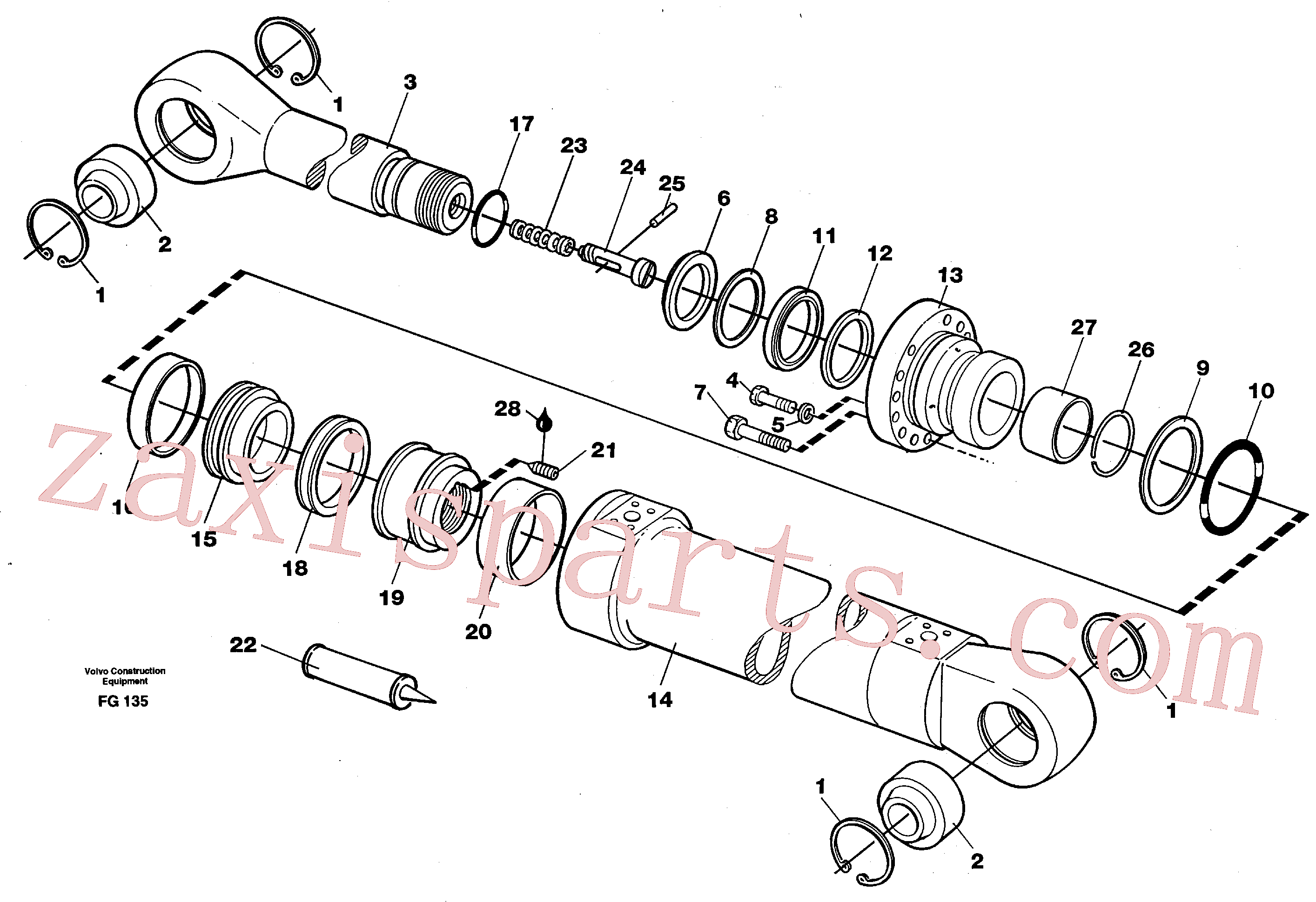 VOE14216268 for Volvo Dipper arm cylinder(FG135 assembly)