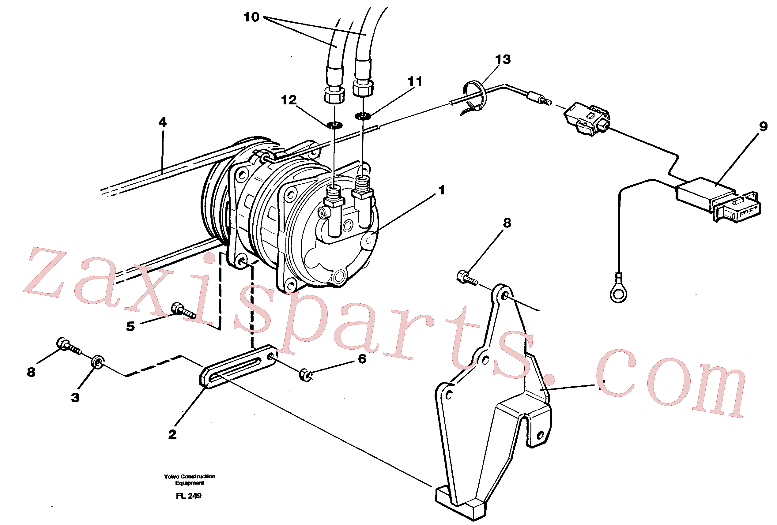 VOE3522589 for Volvo Compressor with fitting parts, cooling agent R134a(FL249 assembly)