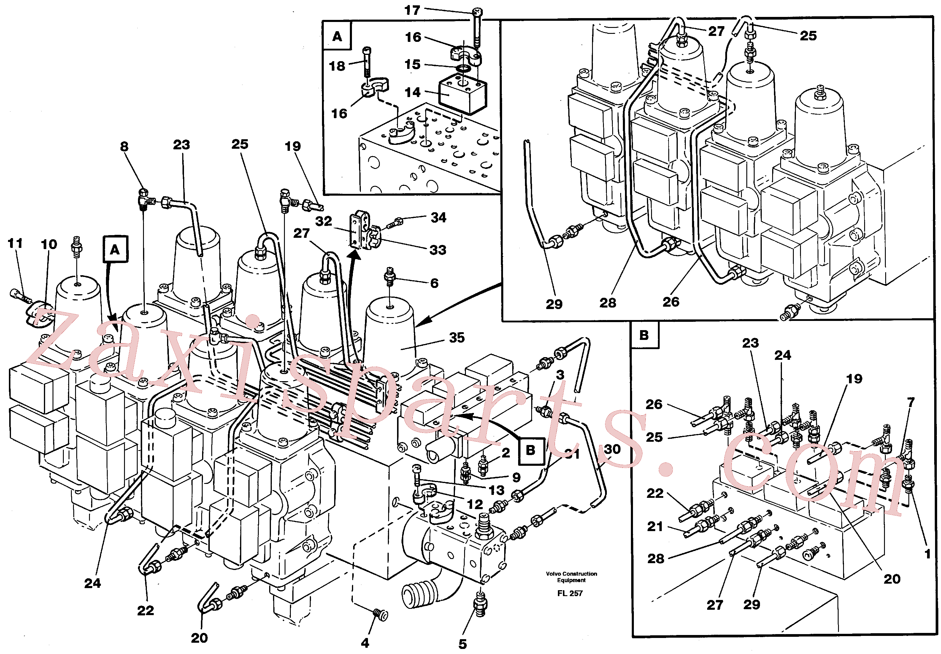 VOE14261299 for Volvo Main valve assembly, tubes connections(FL257 assembly)
