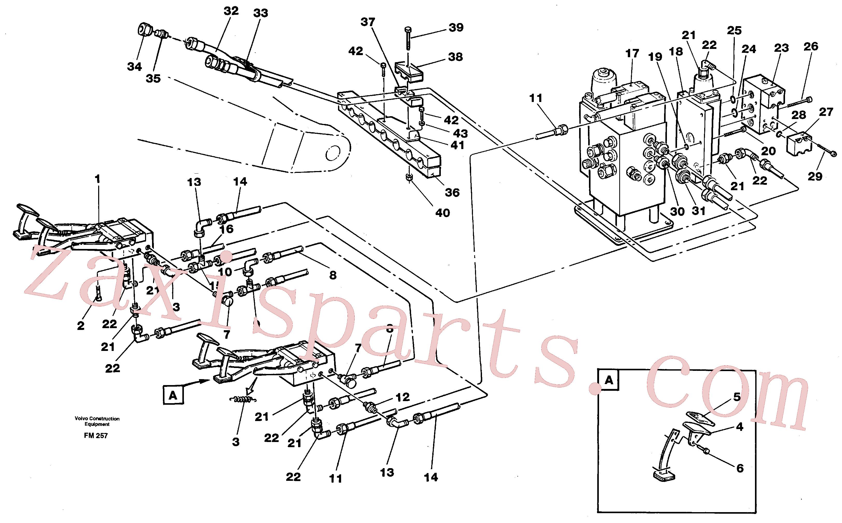VOE14263613 for Volvo Pedal operated slope bucket hydraulics in base machine(FM257 assembly)