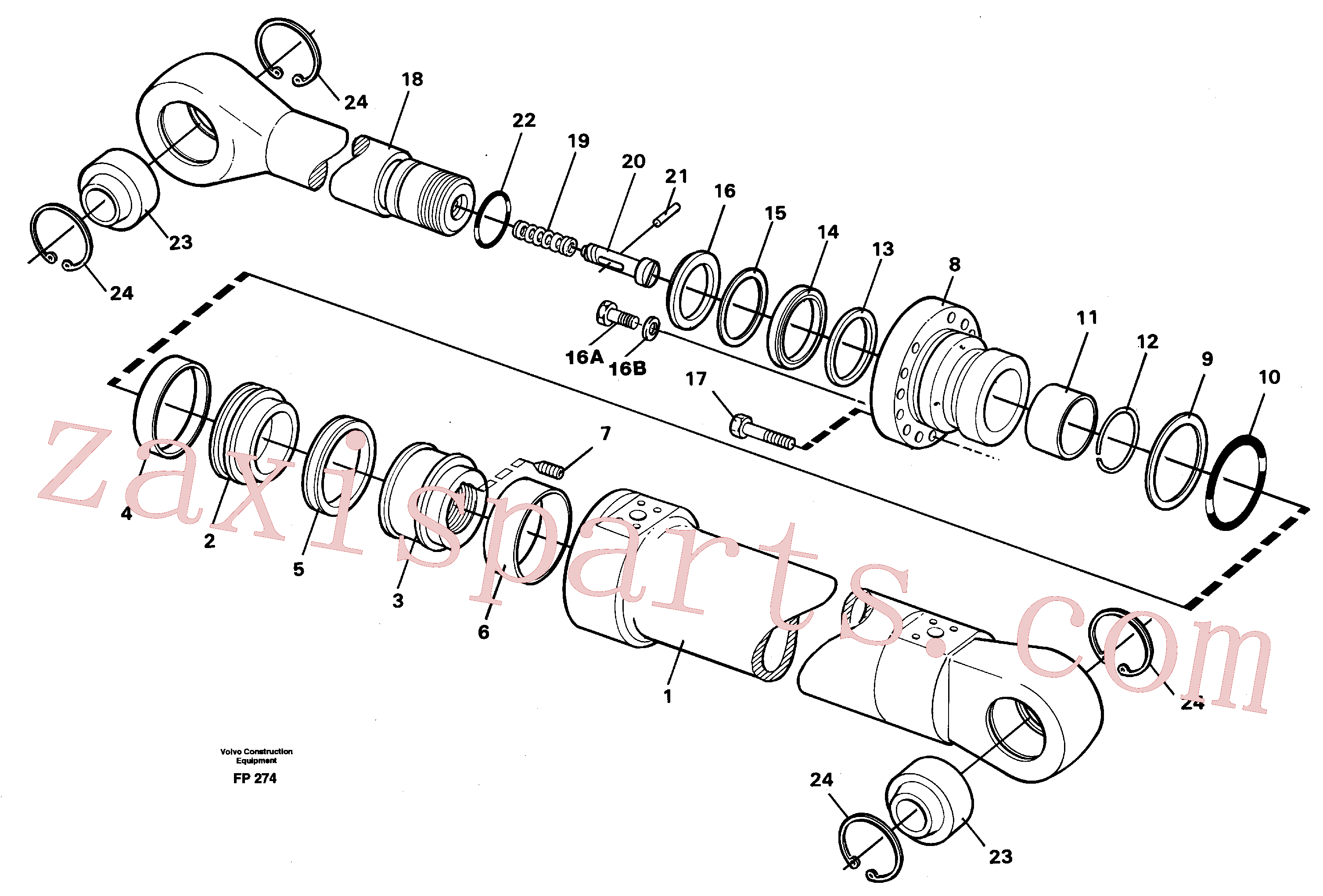 VOE14216268 for Volvo Dipper cylinder, backhoe equipment(FP274 assembly)