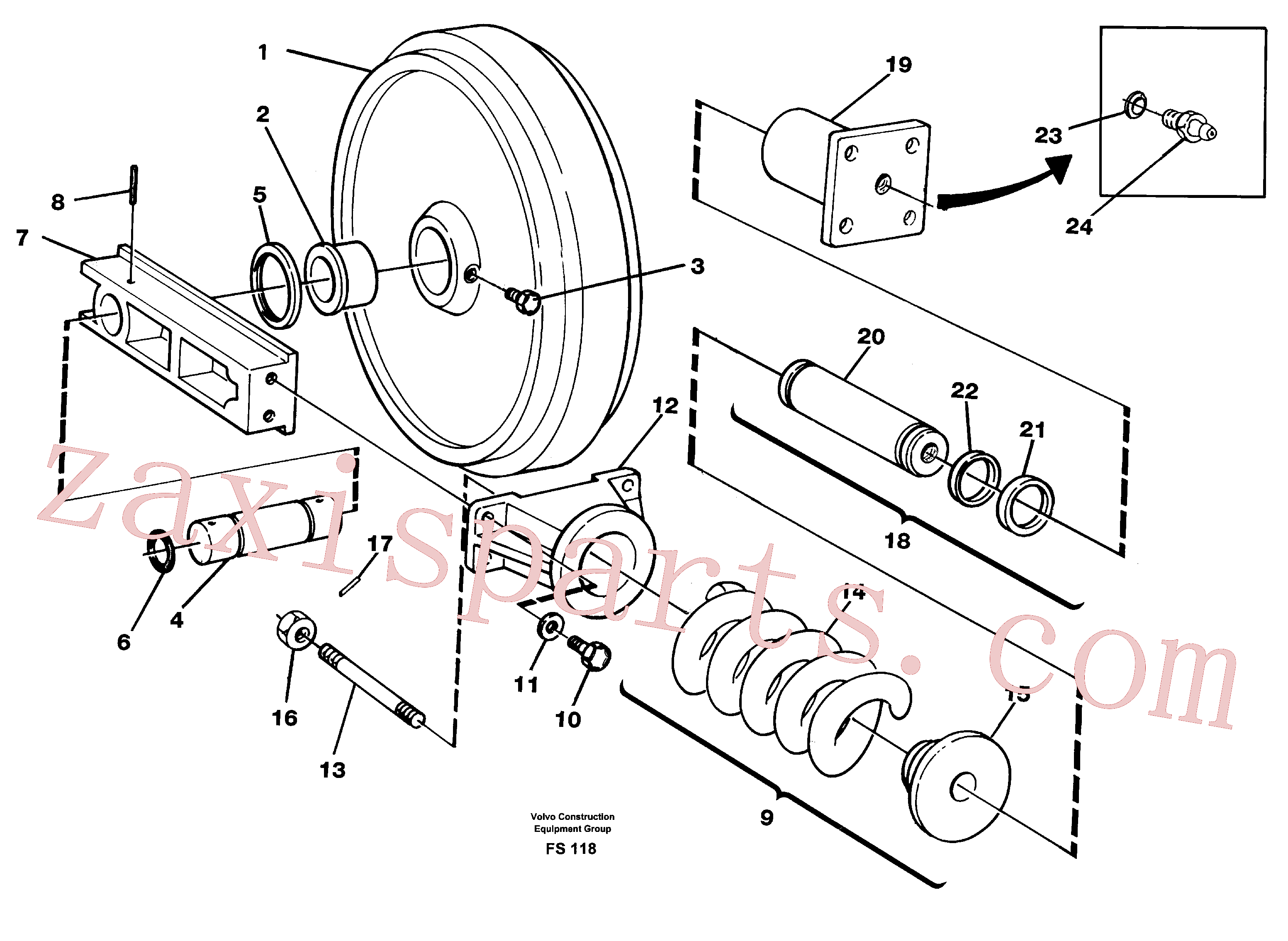 VOE914160 for Volvo Front idler, spring package and tension cylinder(FS118 assembly)