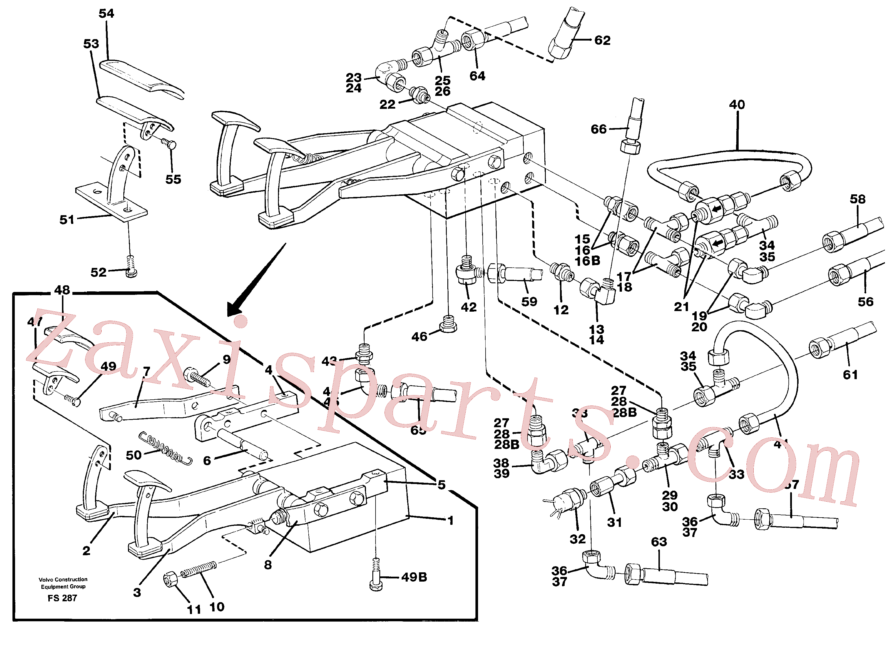 VOE14250295 for Volvo Pedal valve with foot rest and fittings(FS287 assembly)