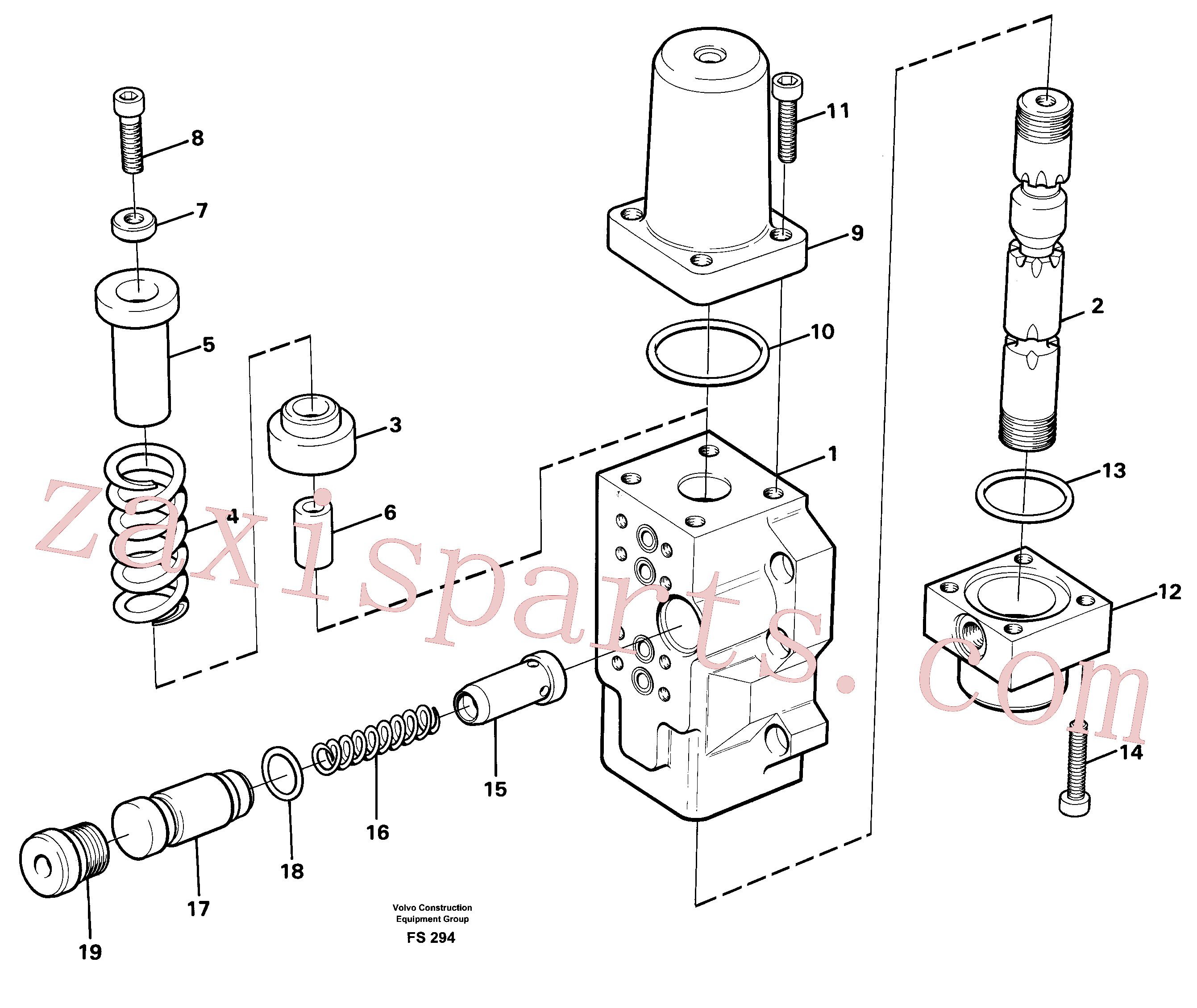 VOE14256962 for Volvo Four-way valve for travel(FS294 assembly)