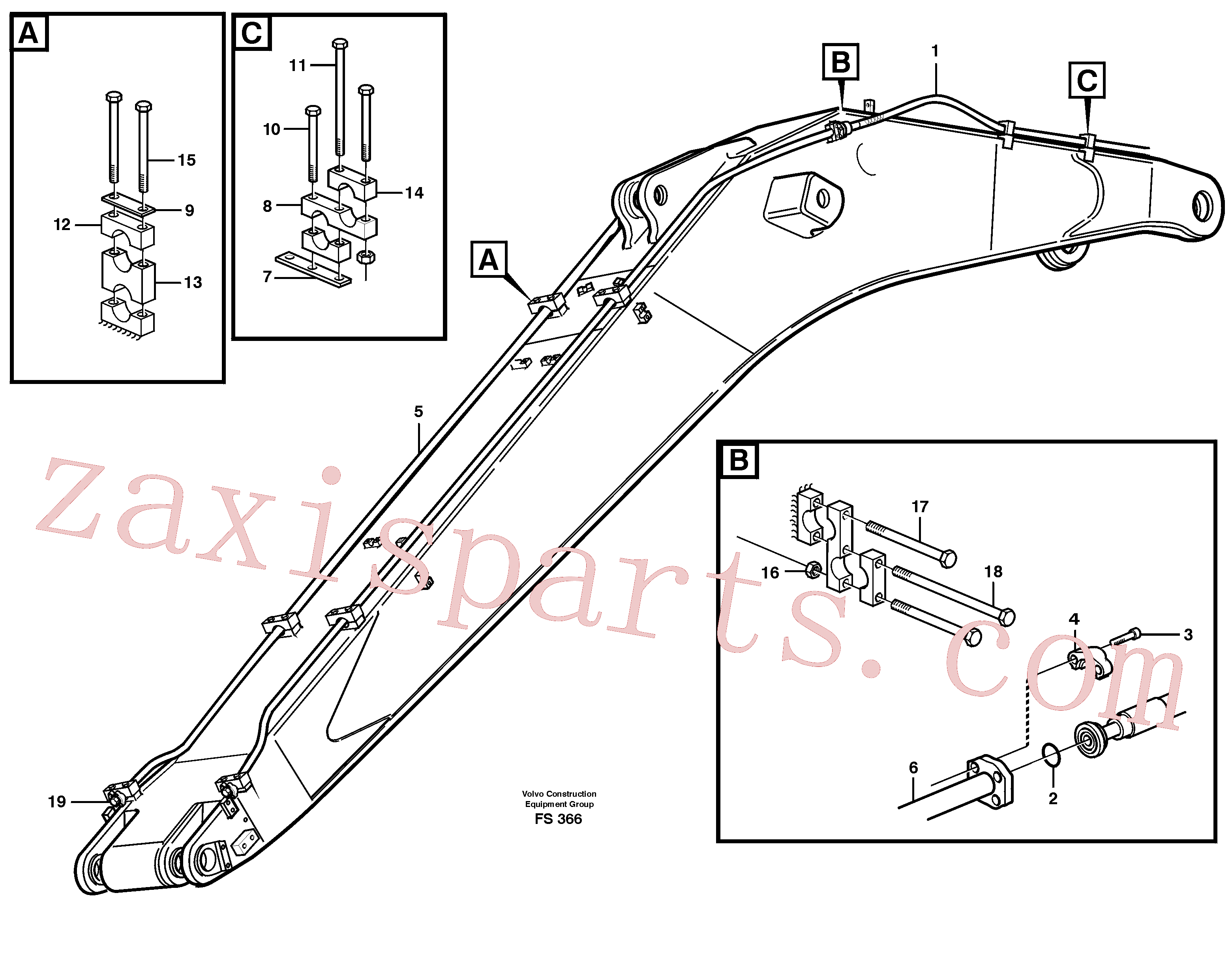VOE14262329 for Volvo Hydraulics for hammer on boom 6.65 M(FS366 assembly)