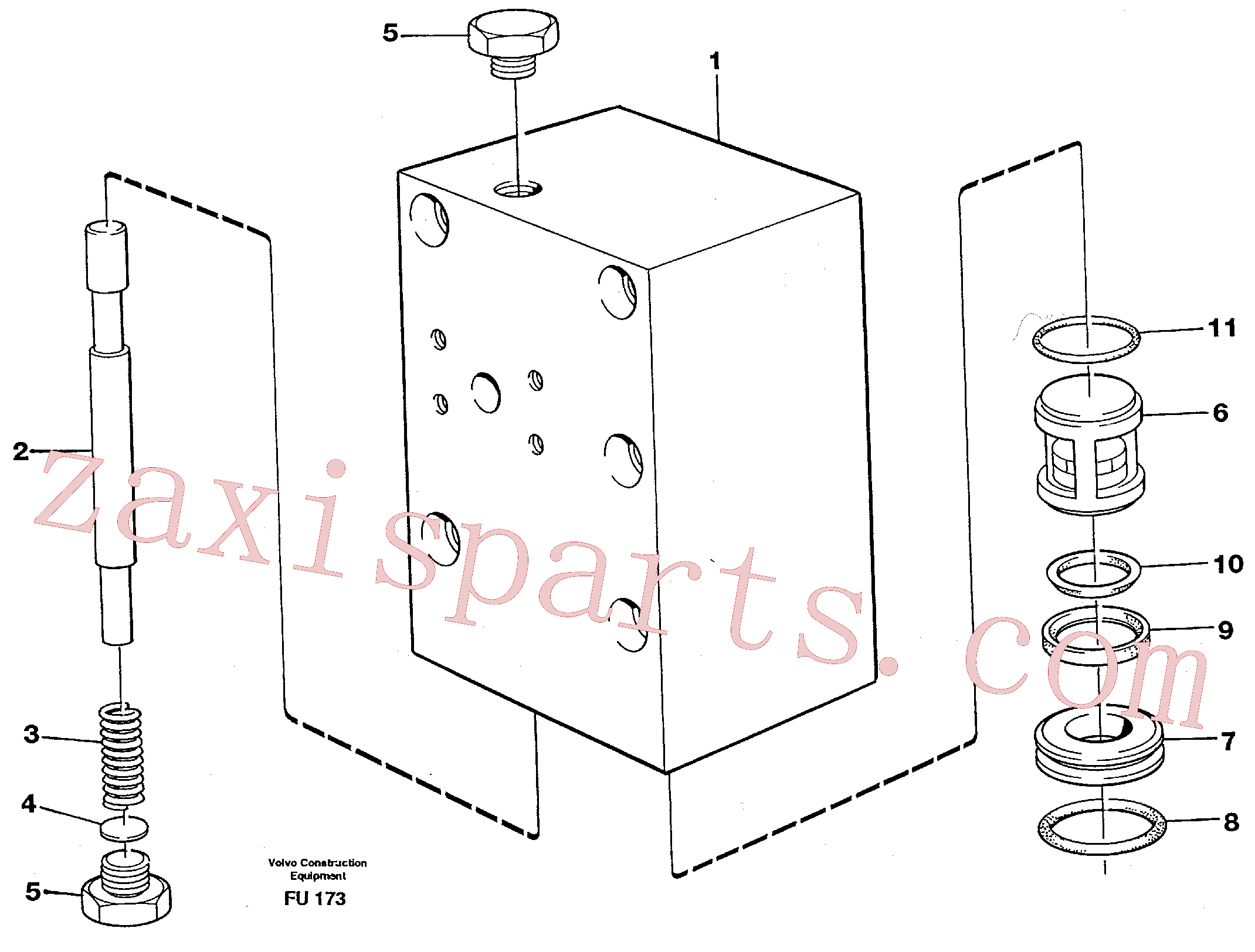 VOE14236534 for Volvo Connection valve Crawler track(FU173 assembly)
