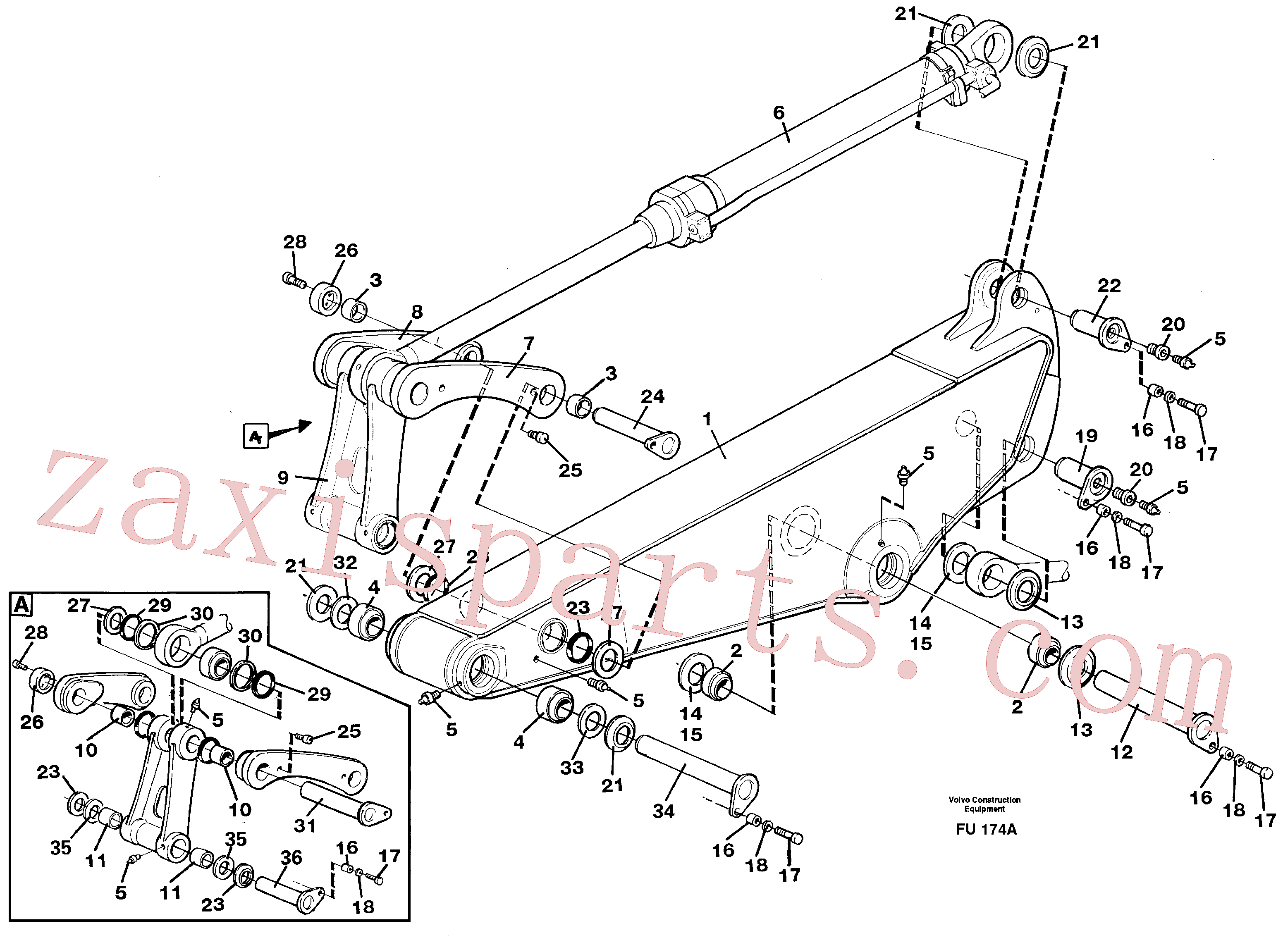 VOE14266281 for Volvo Backhoe dipper arm incl. connections, 2,2m 2,4m 2,9m 3,5m(FU174A assembly)