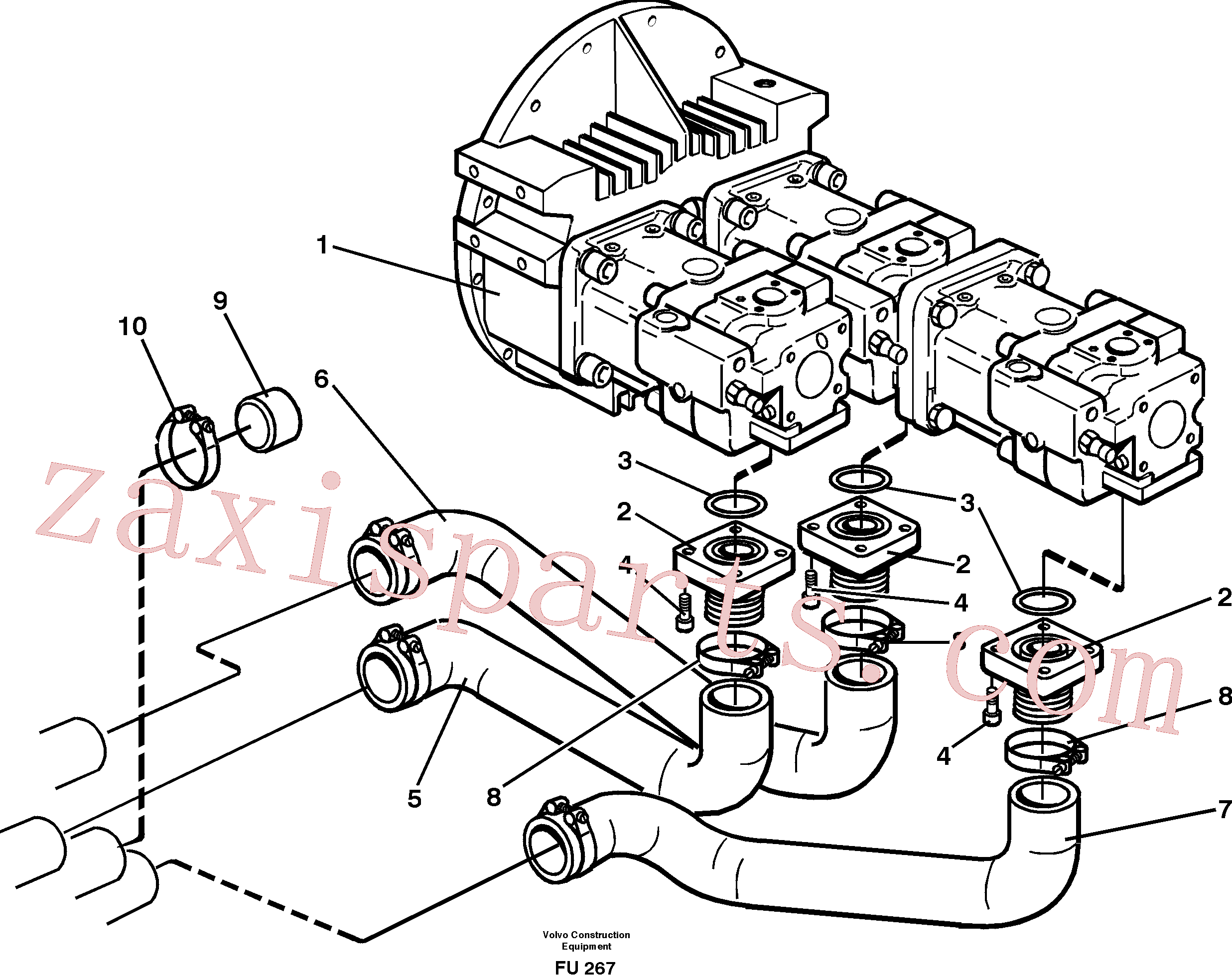 VOE925078 for Volvo Hydraulic system suction lines(FU267 assembly)