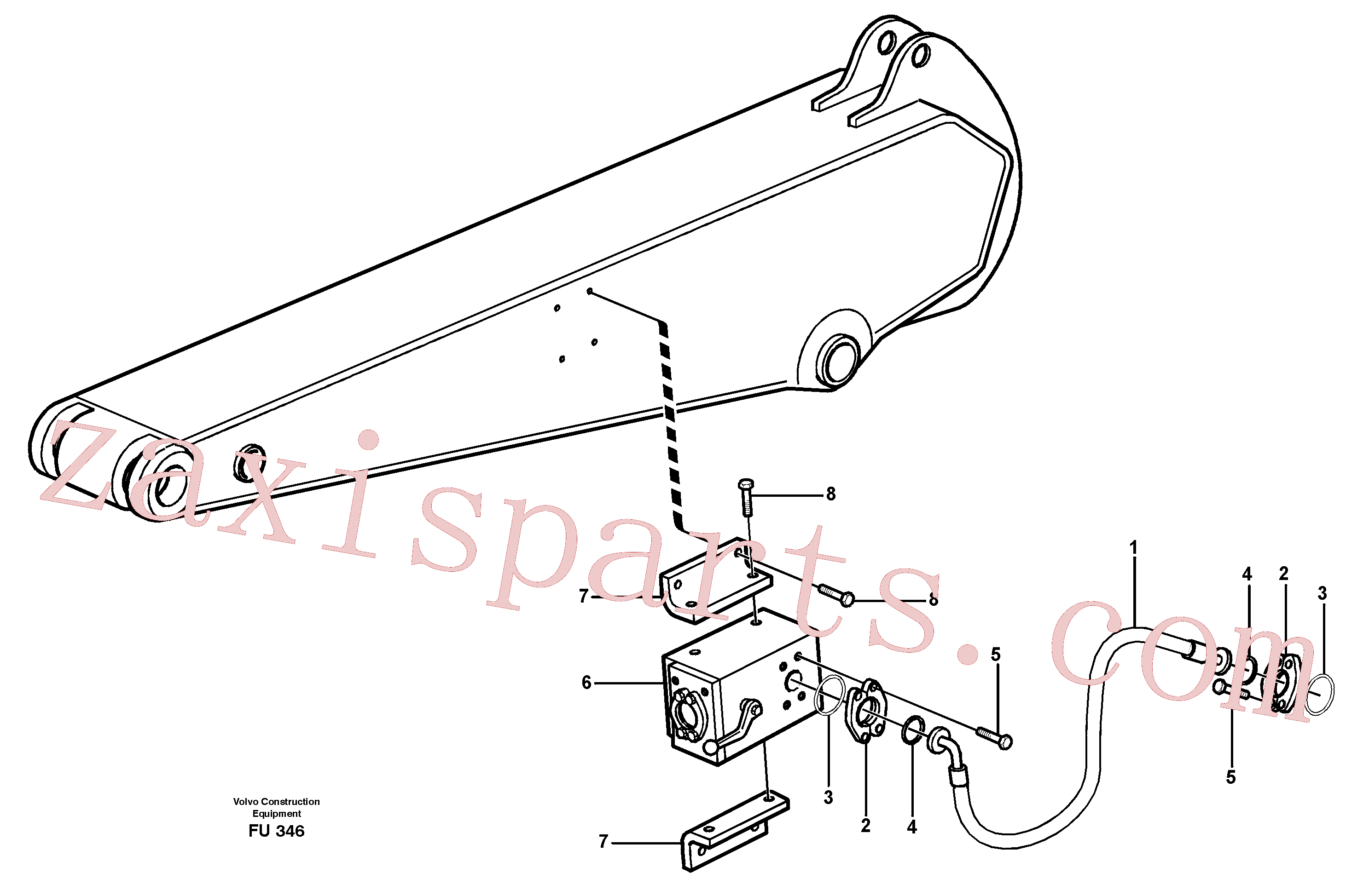 VOE14342361 for Volvo Hammer hydraulics on dipper arm, 2.4 m/ 2.9 m/ 3.5 m/ 4.1m(FU346 assembly)