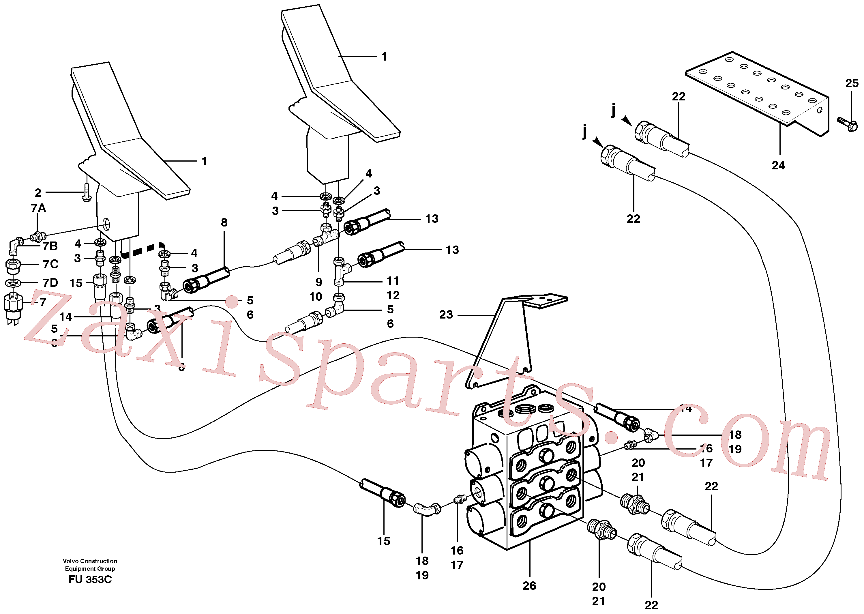VOE14346179 for Volvo Slope bucket/rotating grab hydraulics in base machine(FU353C assembly)