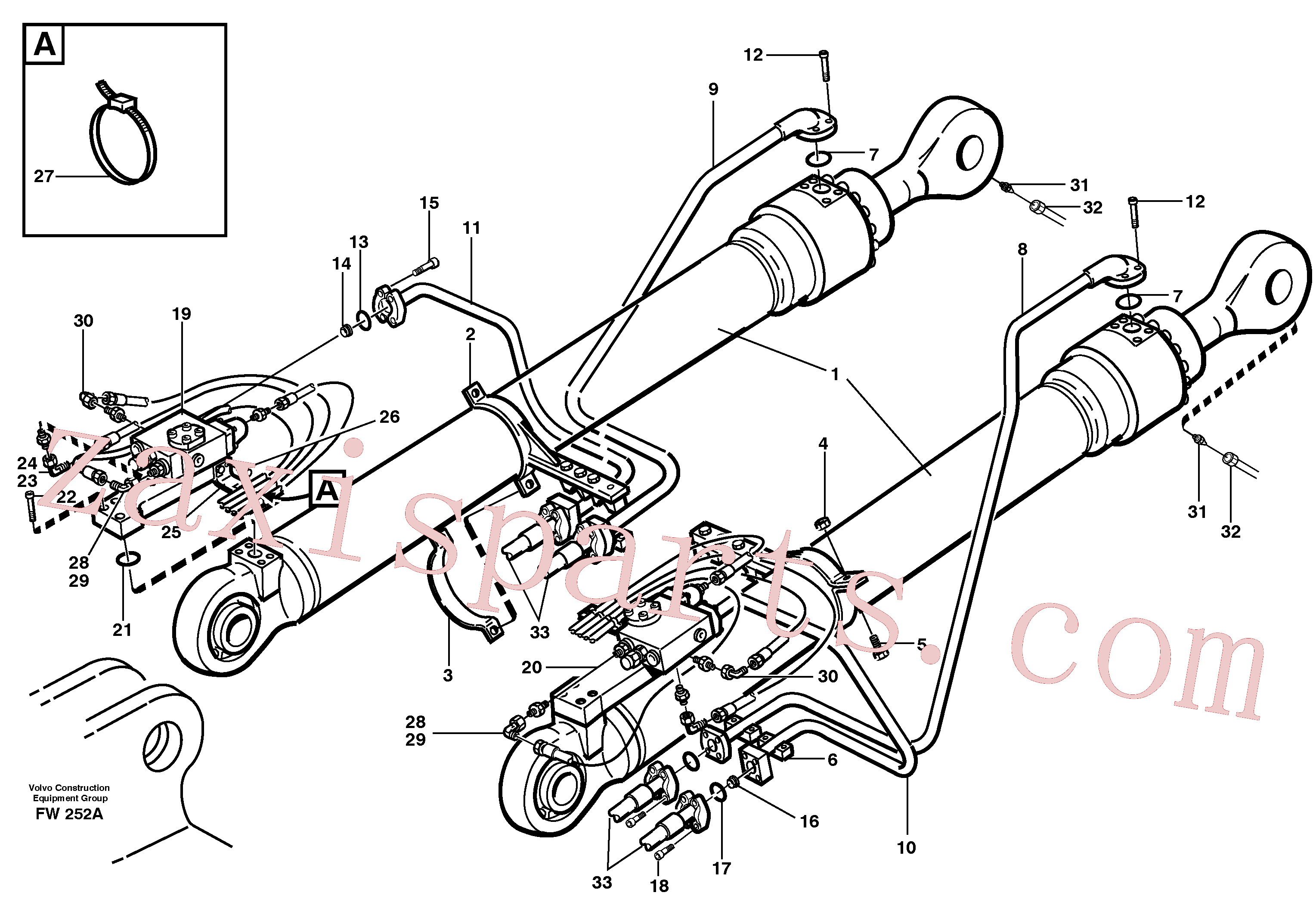 VOE14341408 for Volvo Cylinder hydraulics, backhoe boom(FW252A assembly)