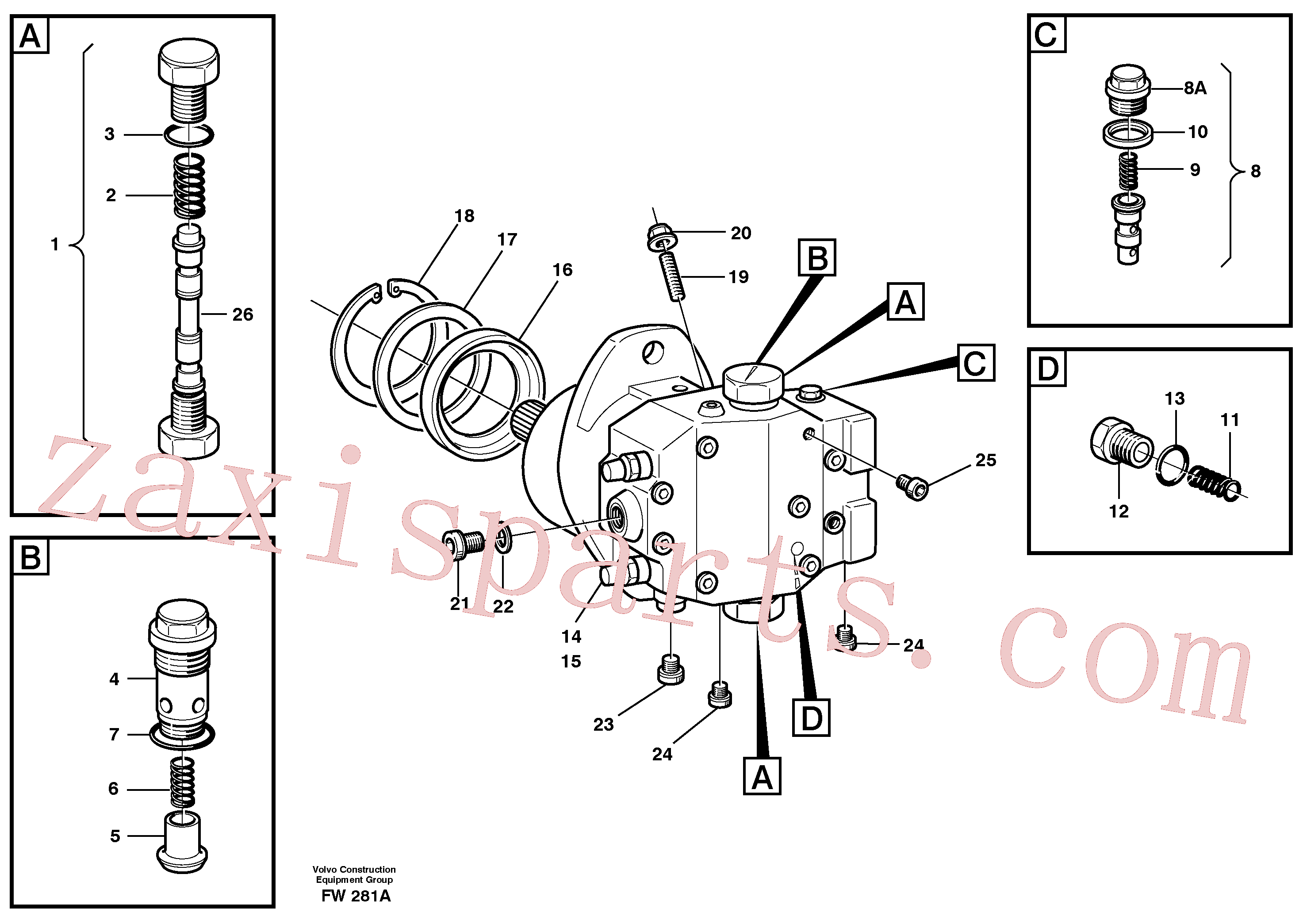 VOE11703861 for Volvo Hydraulic motor, travel(FW281A assembly)