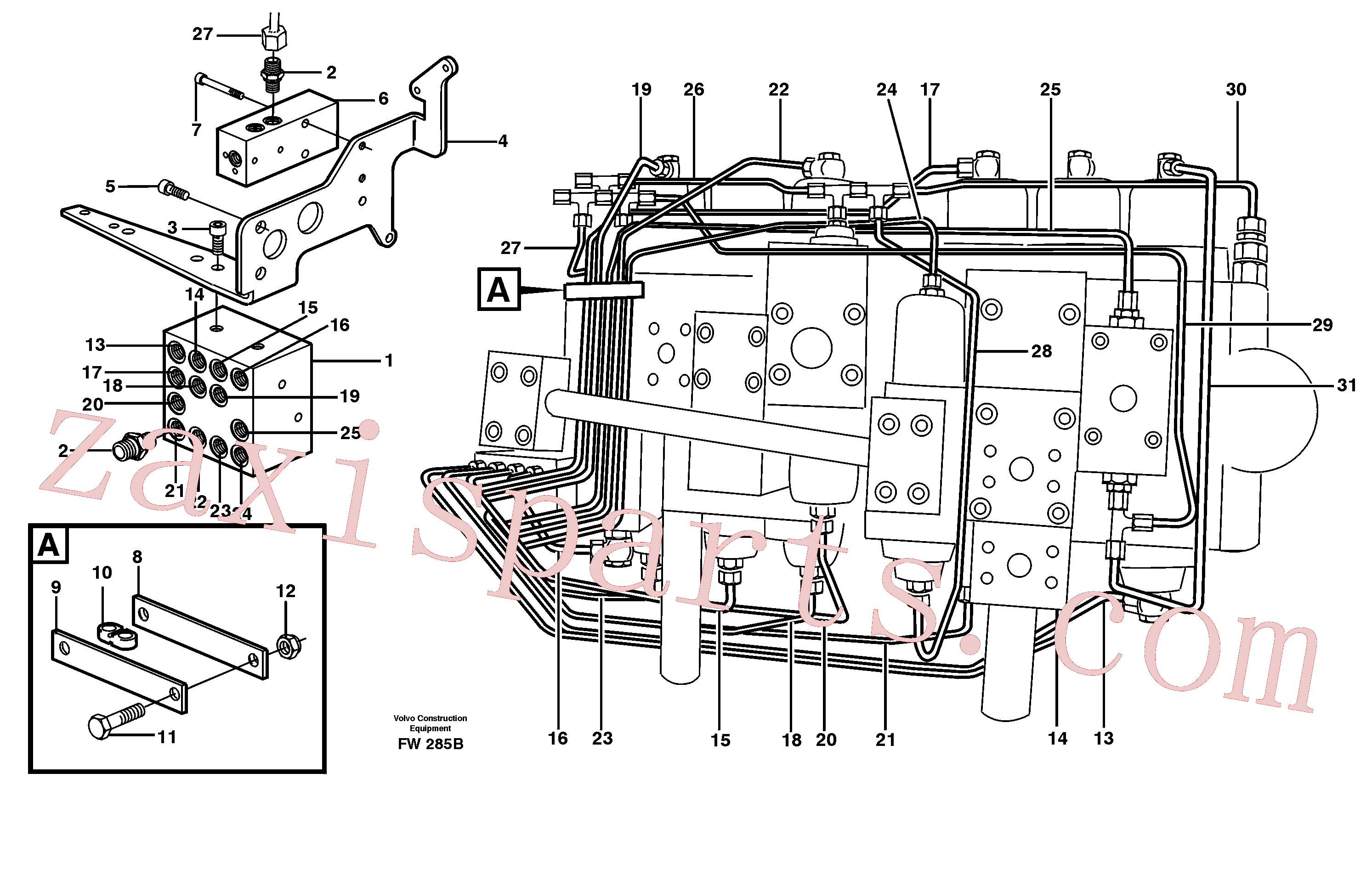 VOE14344626 for Volvo Main valve assembly, tubes connections(FW285B assembly)
